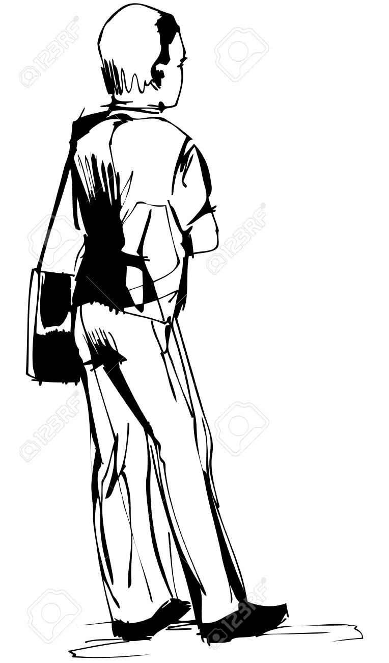 fellow costs with a bag on the left shoulder Stock Vector - 13699889
