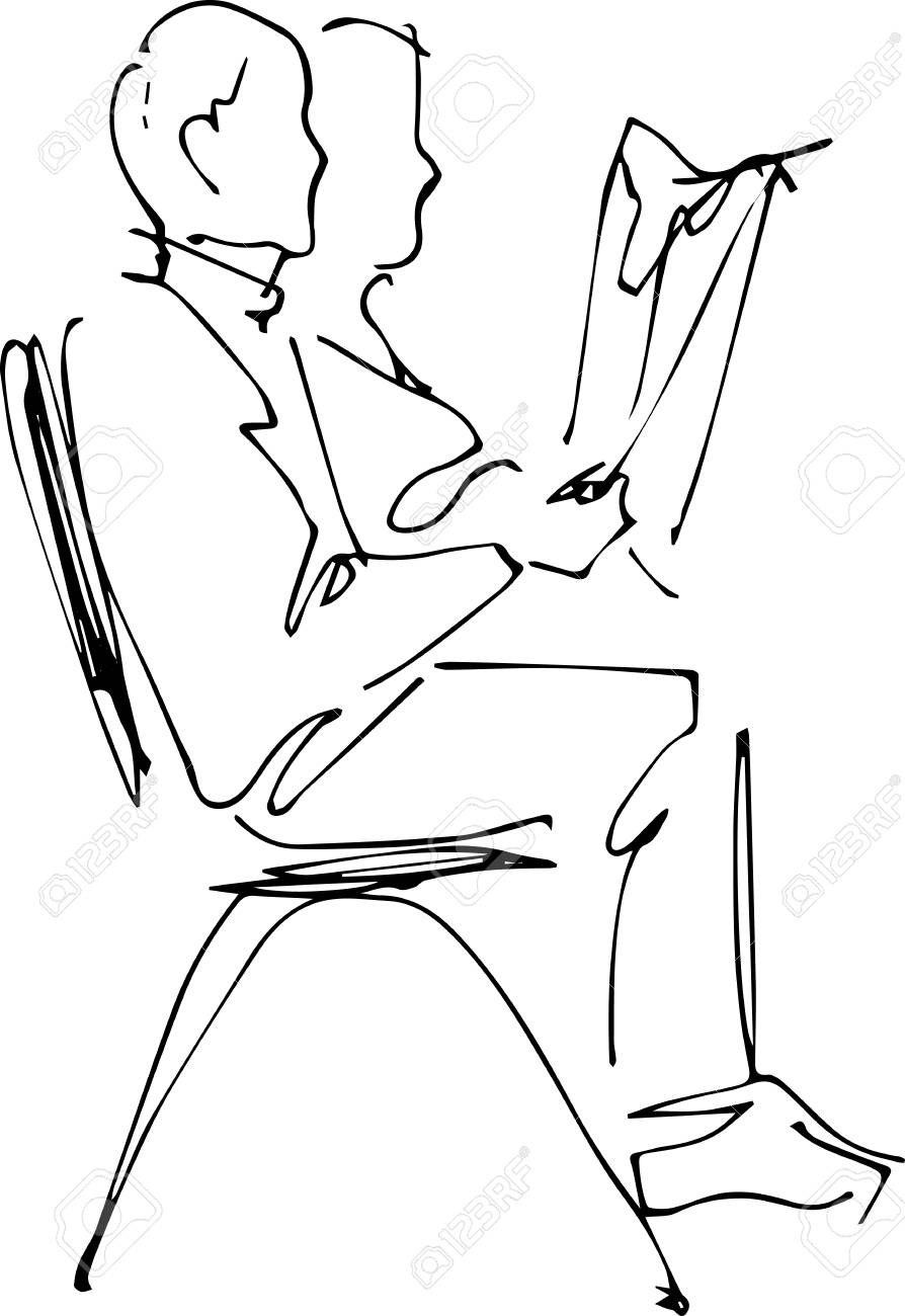 a image of a man sitting on a chair reading a newspaper royalty free