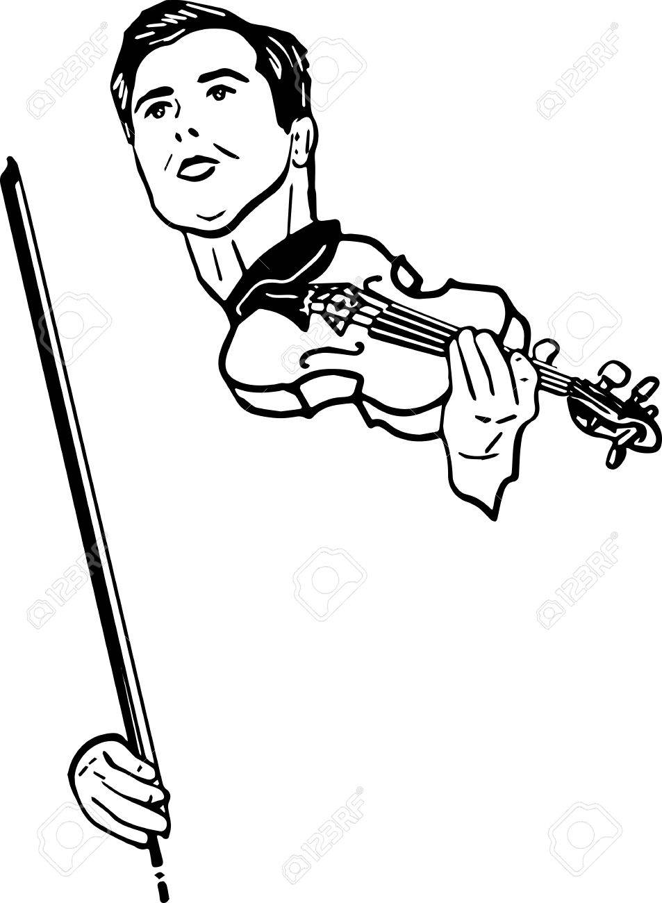 Black and white sketch of a musician with violin