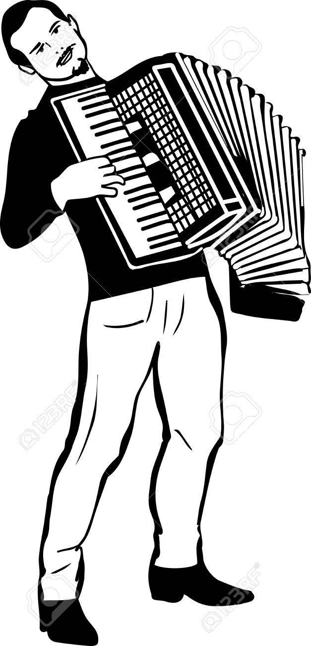 Dessin Accordéon dessin en noir et blanc d'un homme jouant de l'accordéon clip art