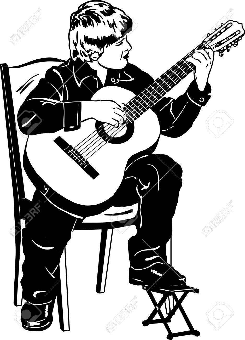 Black and white vector sketch of a boy playing music on a guitar