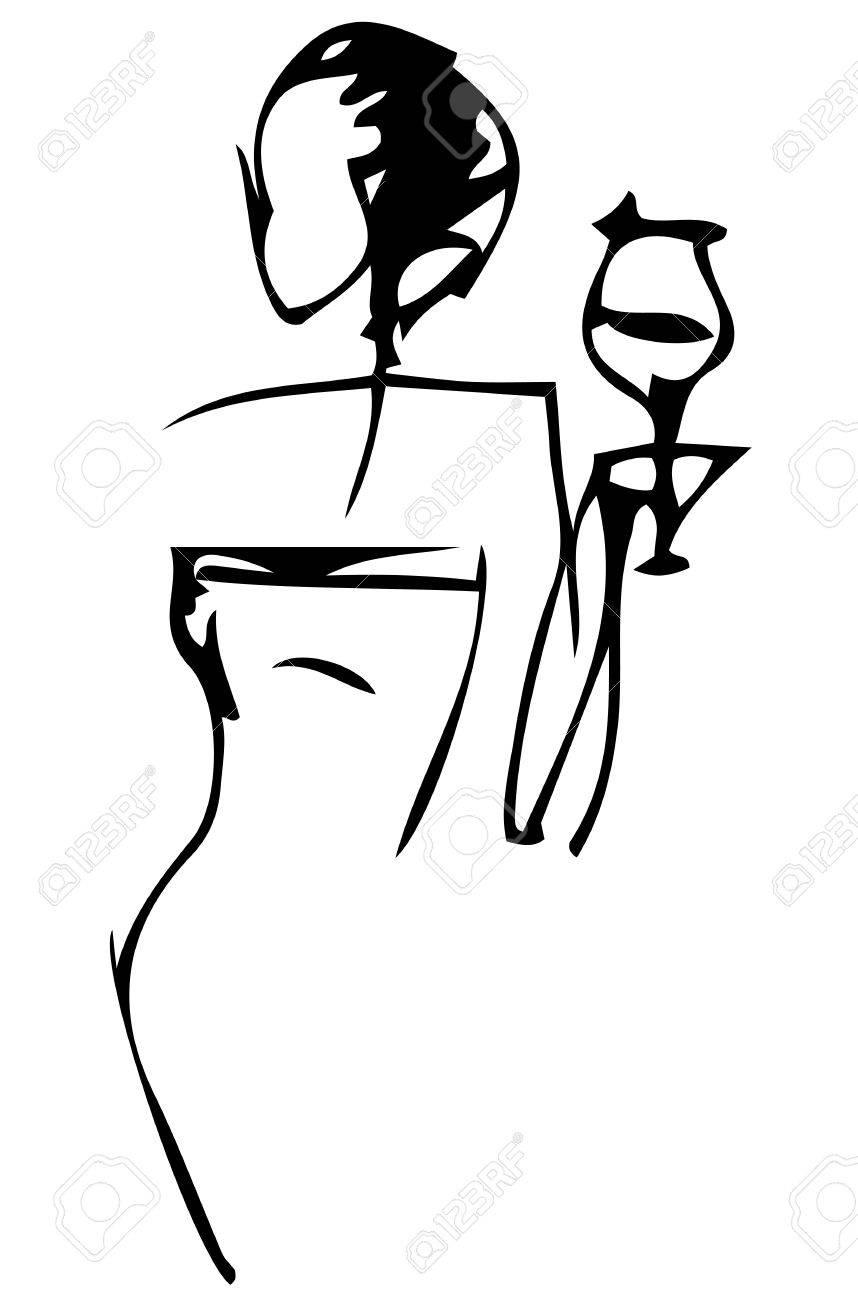 Noir Et Blanc Silhouette Vecteur Dessin Dune Femme élégante Avec Un Verre