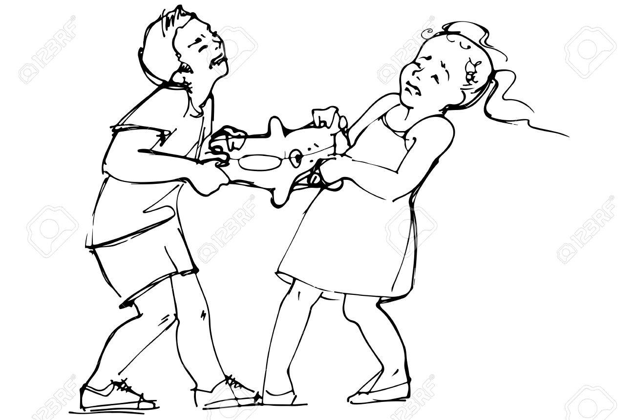 black and white vector sketch of boy and girl children are fighting