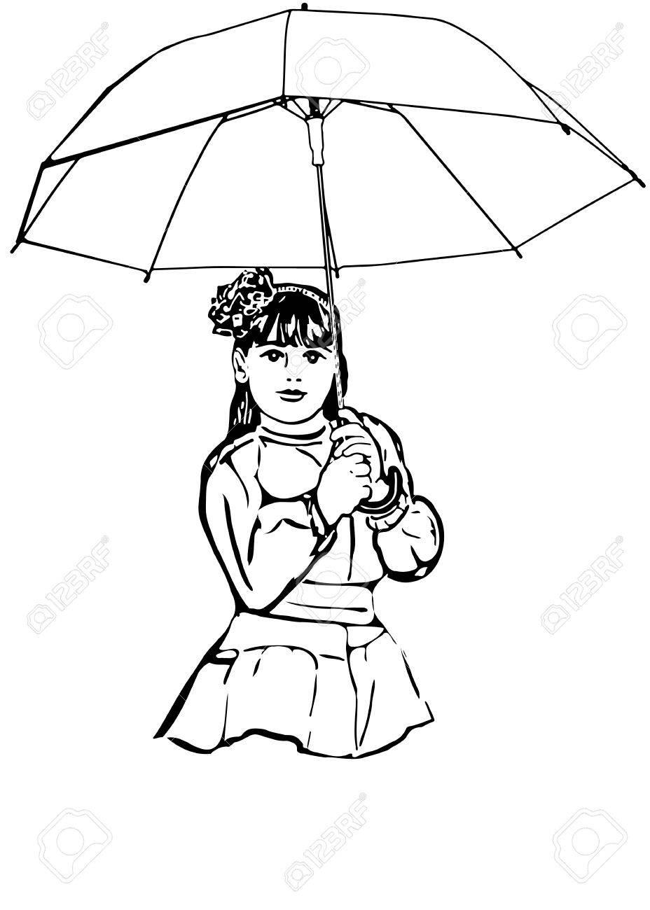 Schwarz Weiß Vektor Skizze Eines Schönen Kleinen Mädchen Unter Dem