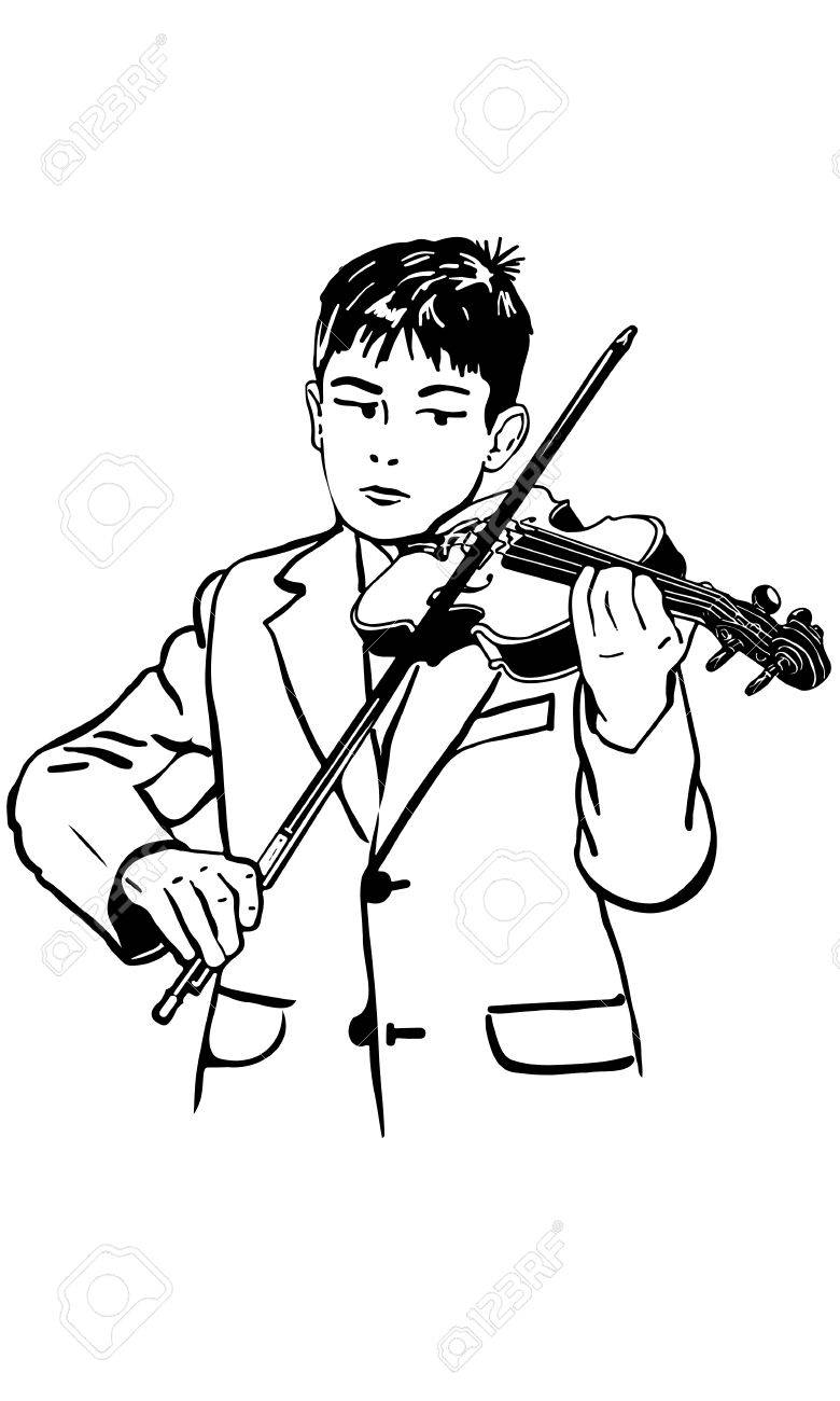 Black And White Vector Sketch Boy Is Practicing The Violin Royalty ... for violin cartoon black and white  270bof