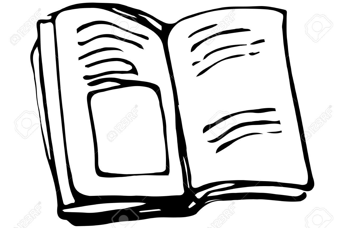 Blanco Y Negro Dibujo Vectorial De Un Libro Abierto Con Picturesb