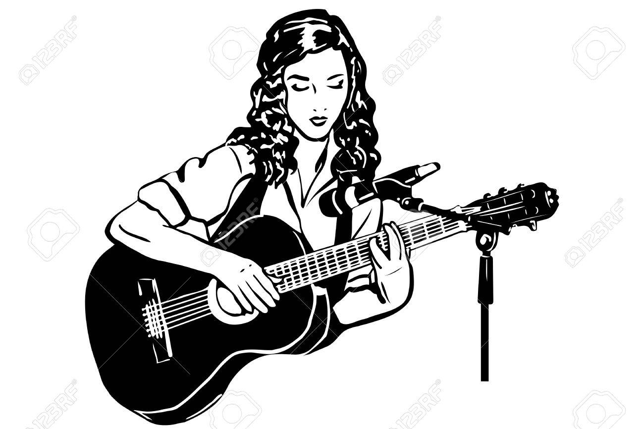 Black and white sketch of a girl playing the guitar in front of a microphones stock