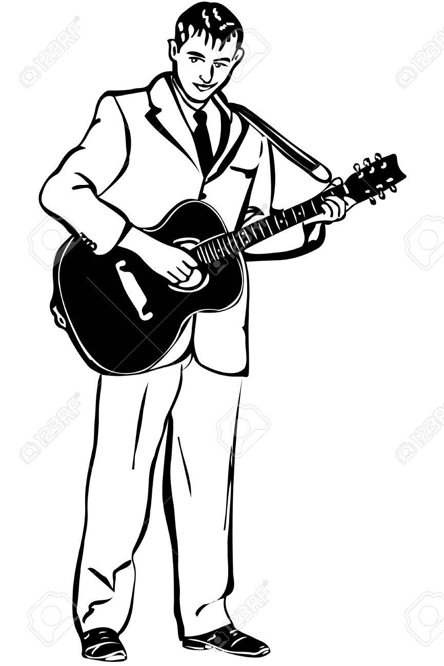 Black and white sketch of a man playing an acoustic guitar