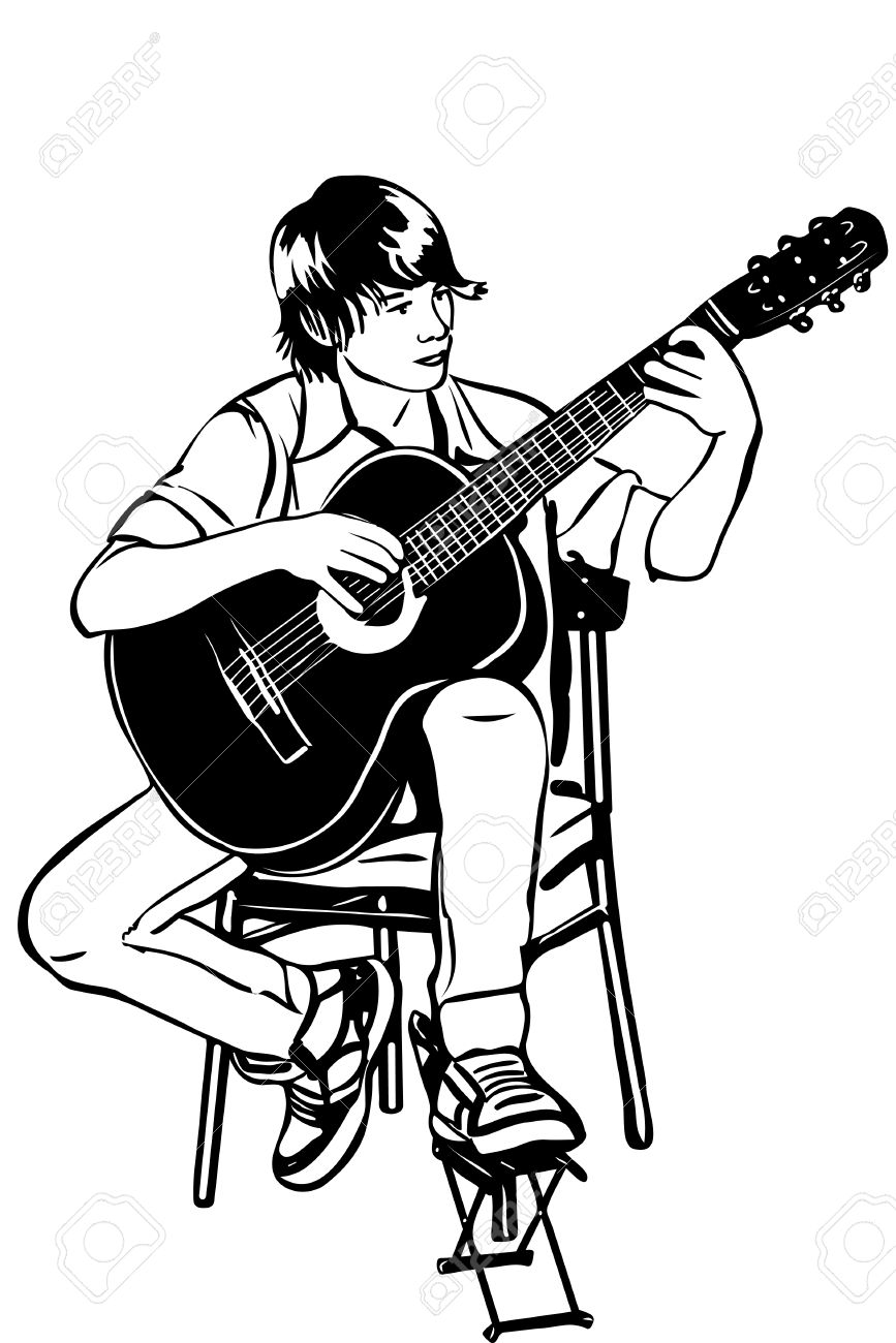 Black and white sketch of a young man sitting on the acoustic