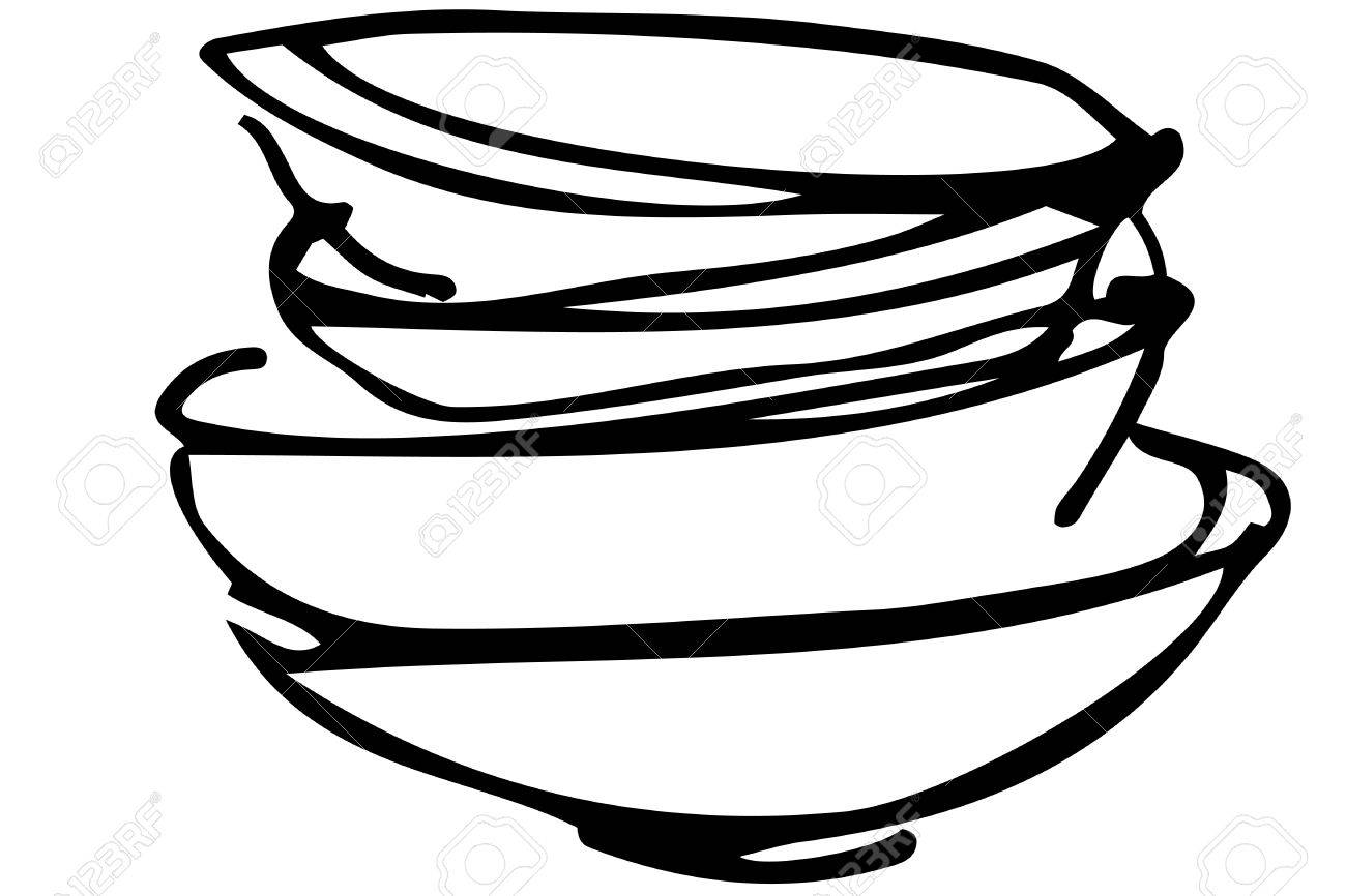 black and white vector sketch of a pile of dirty dishes royalty free rh 123rf com dirty dishes clipart images no dirty dishes clipart