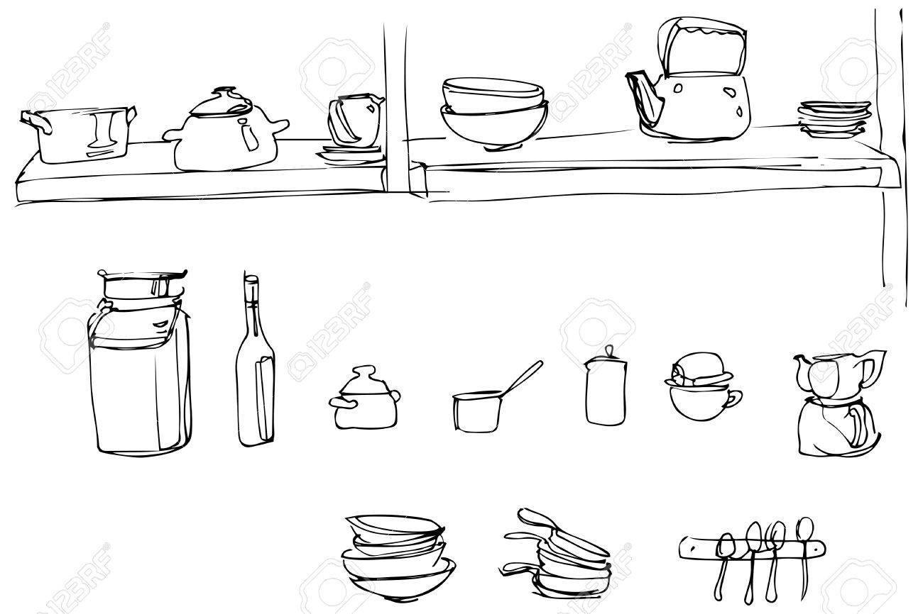 Kitchen Utensils Wallpaper black and white sketch of kitchen utensils in the range of