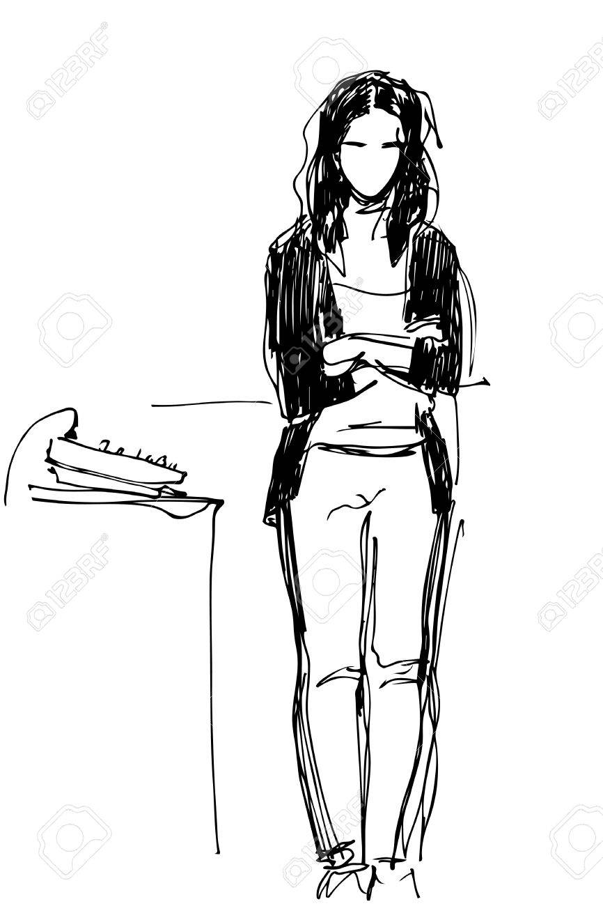 Black and white sketch of a girl standing at the mixing console stock vector 60371001