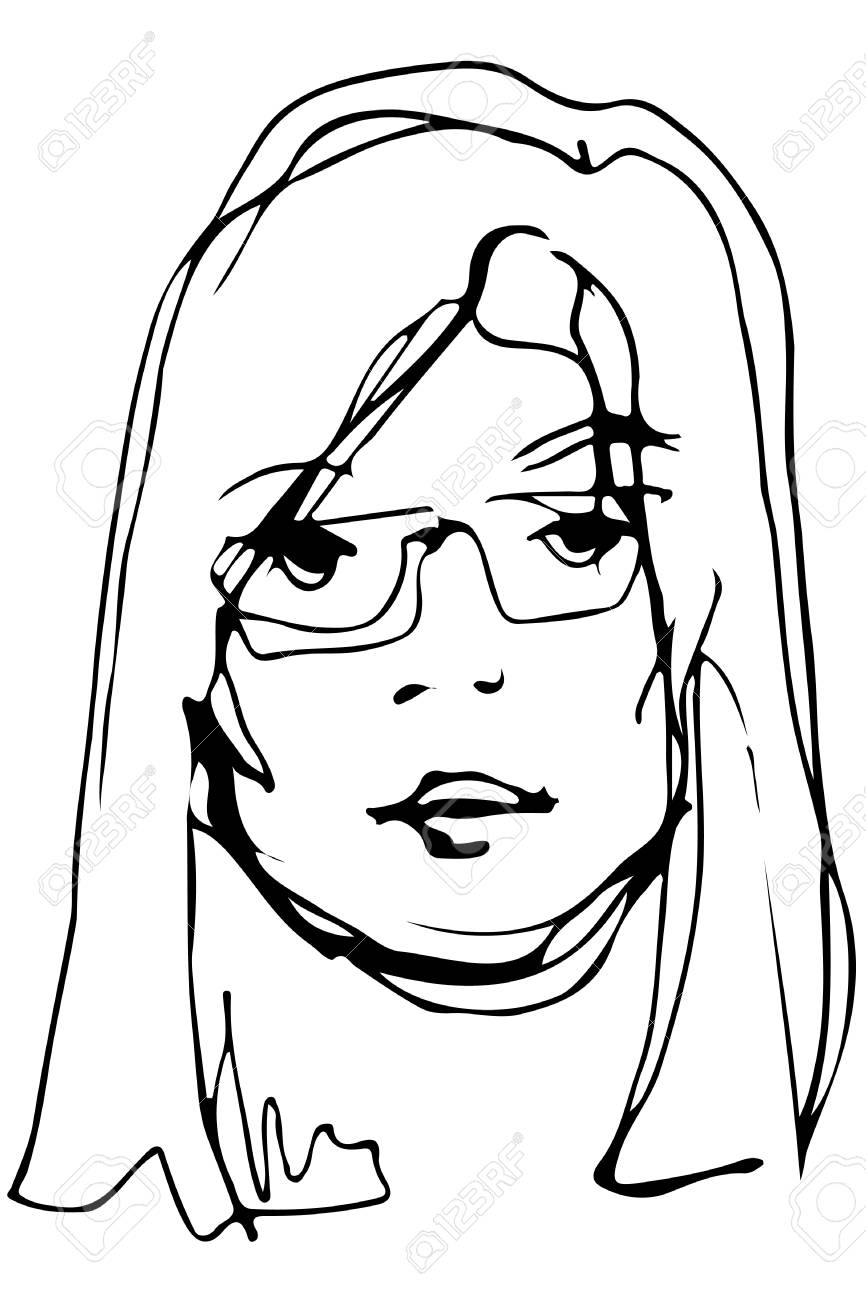 Black and white vector sketch of a young beautiful blonde girl