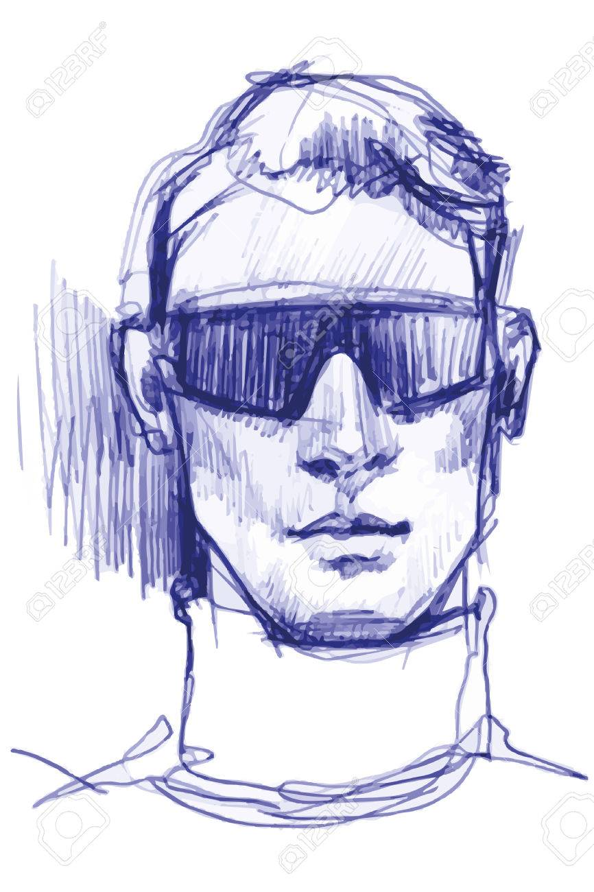 Vector sketch blue ballpoint pen to portrait of a man in sunglasses