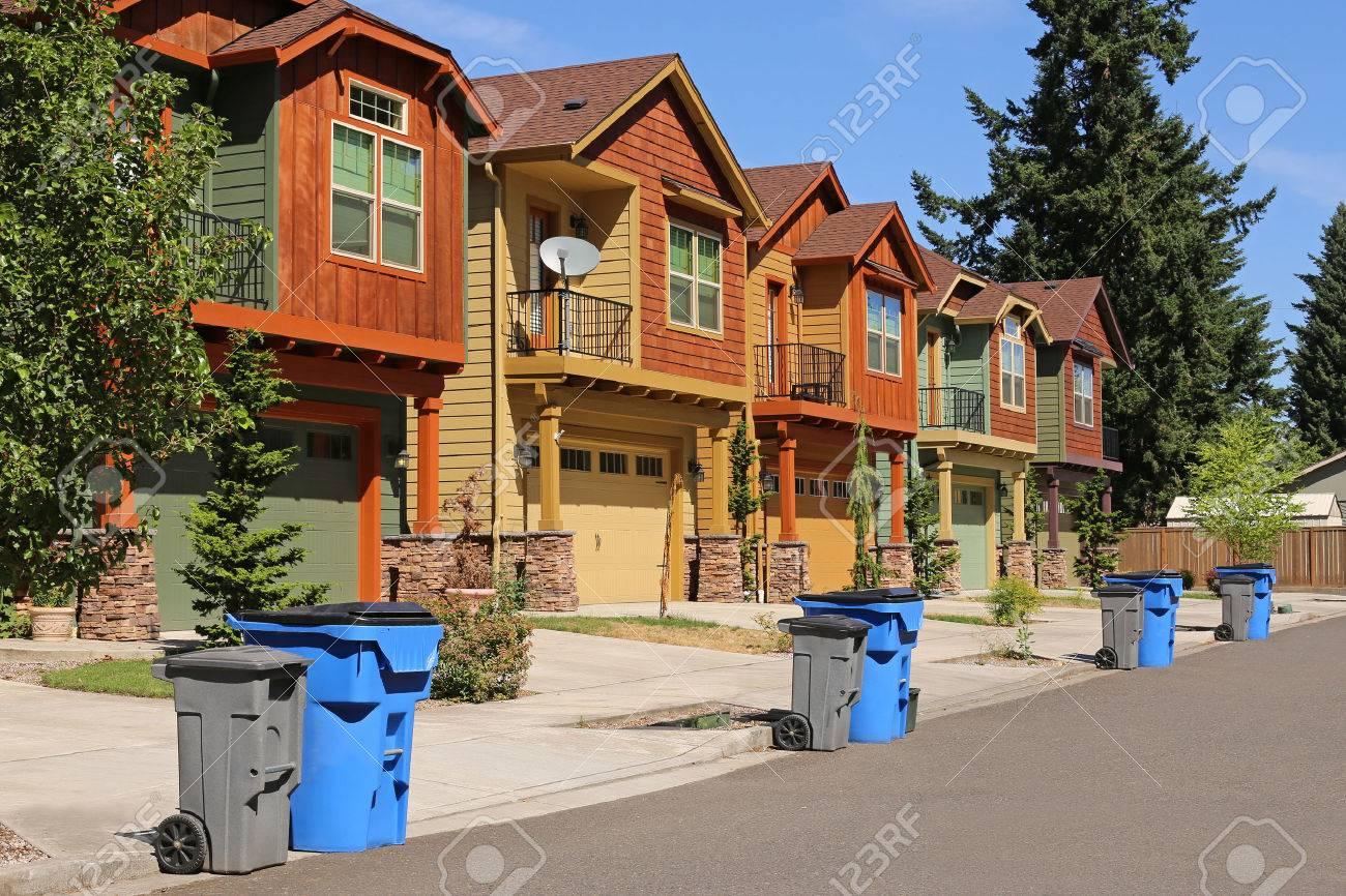 Row of modern houses in suburban neighborhood stock photo 44623923