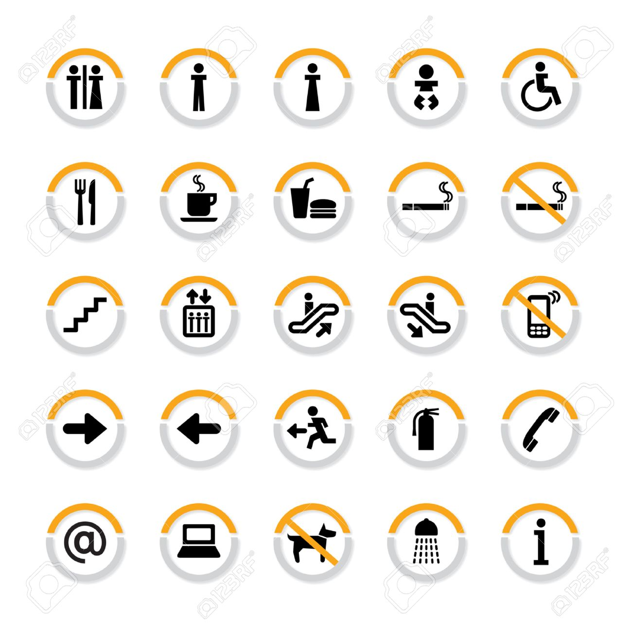 Pictogram set for indoor use in in semicircles with shadow Stock Vector - 8363664