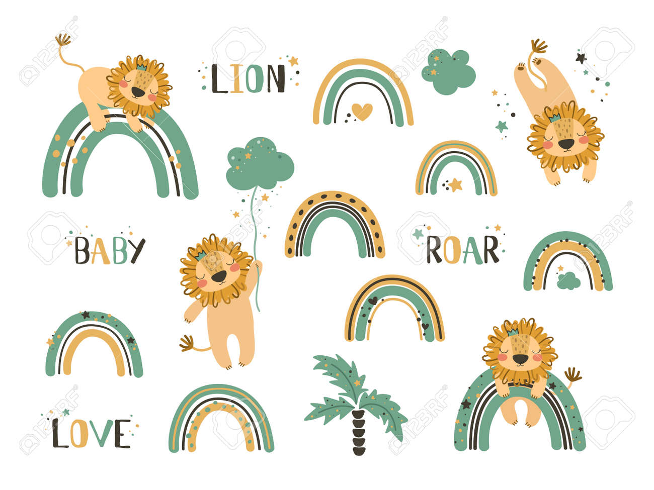 Set of cute lion clip art. Use this clipart to create baby shower invites, nursery art, birthday decor, greeting cards, children's clothing. Vector illustration. - 158863459