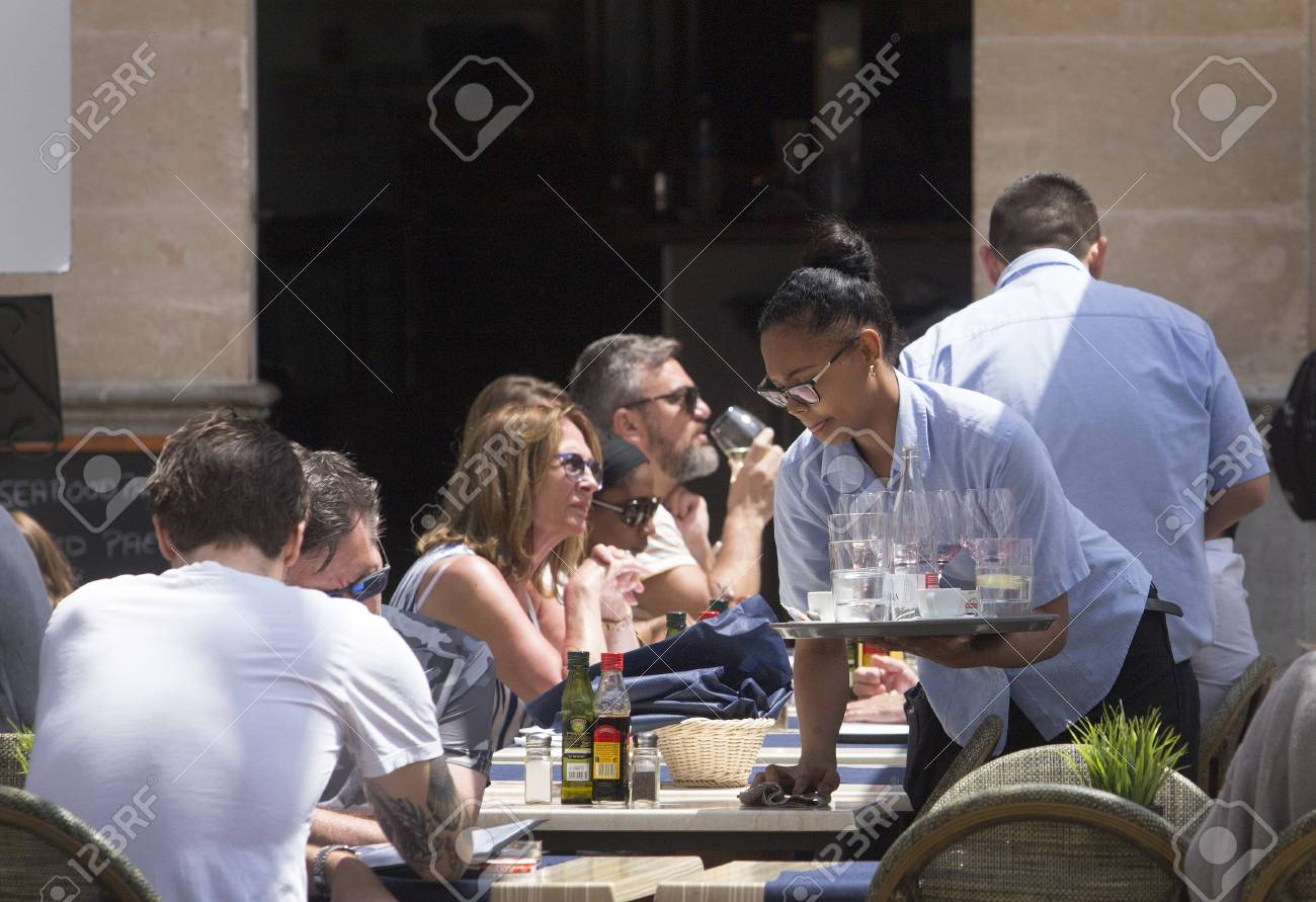 Captivating Palma De Mallorca, Spain   May 9, 2018   Crowded Terraces During The  Beginning