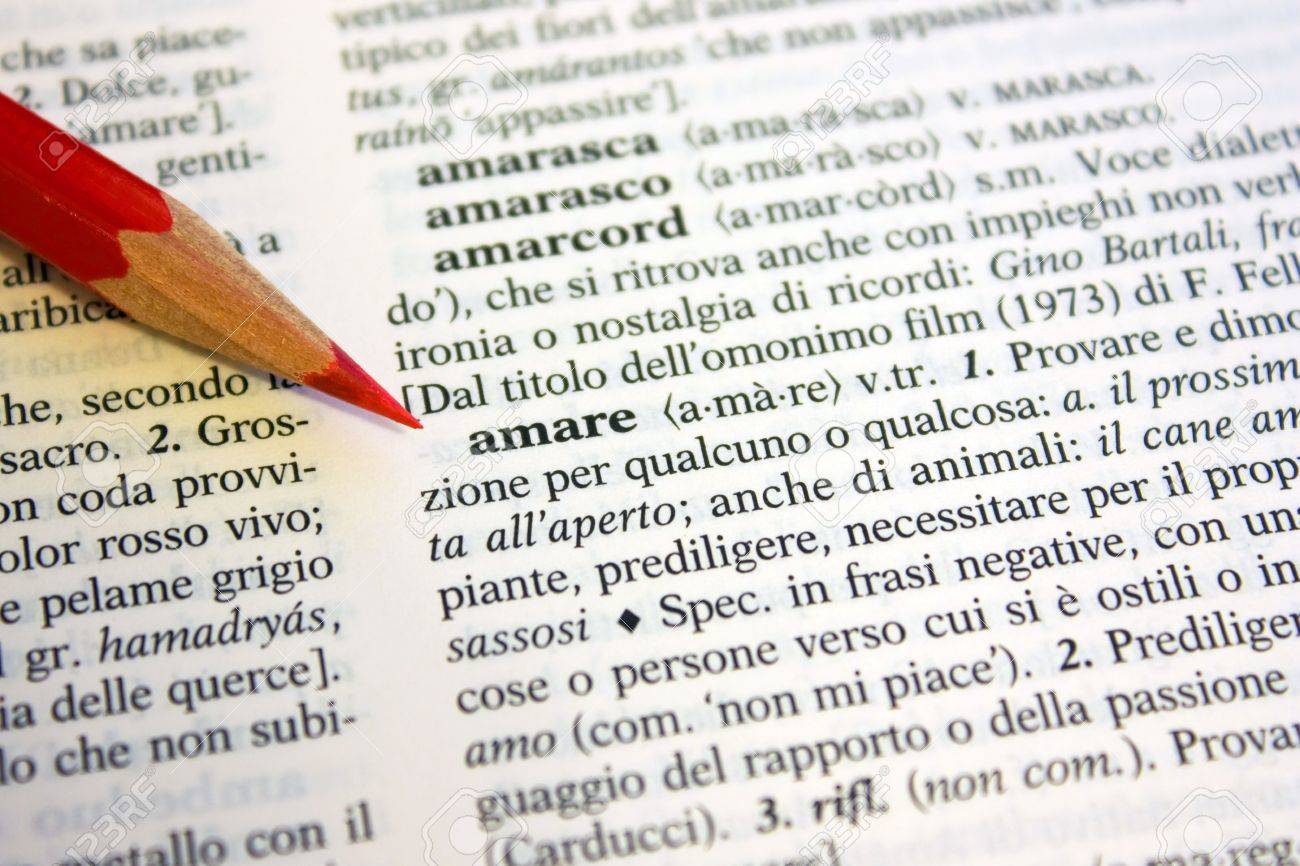 Definition of Love from an italian dictionary