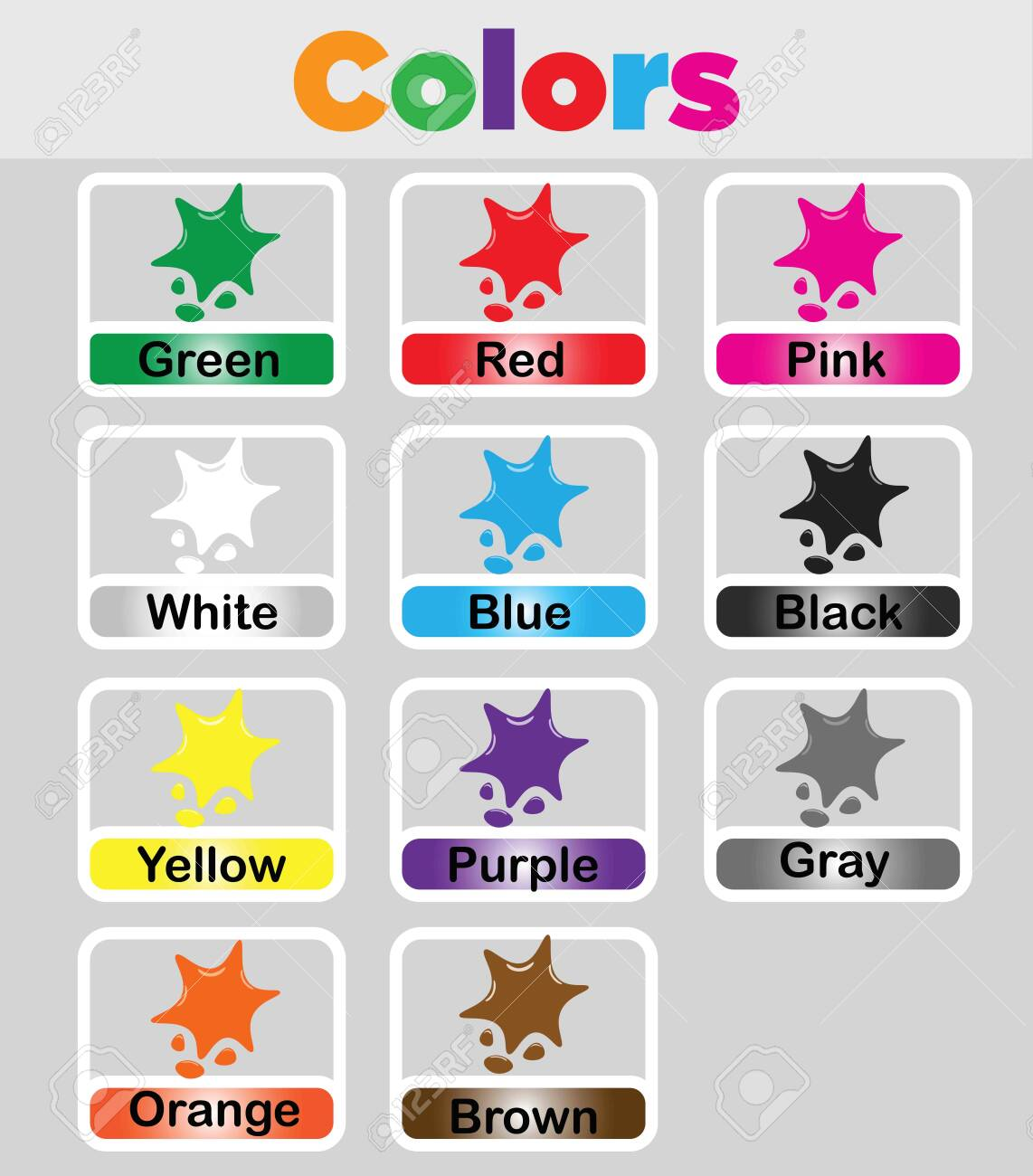 Color Flashcards Printable For Kids Color Vocabulary Cards Royalty Free Cliparts Vectors And Stock Illustration Image 132506181