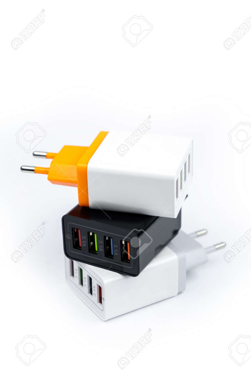 Adapter charger with multiport USB ports isolated on white background - 167628116