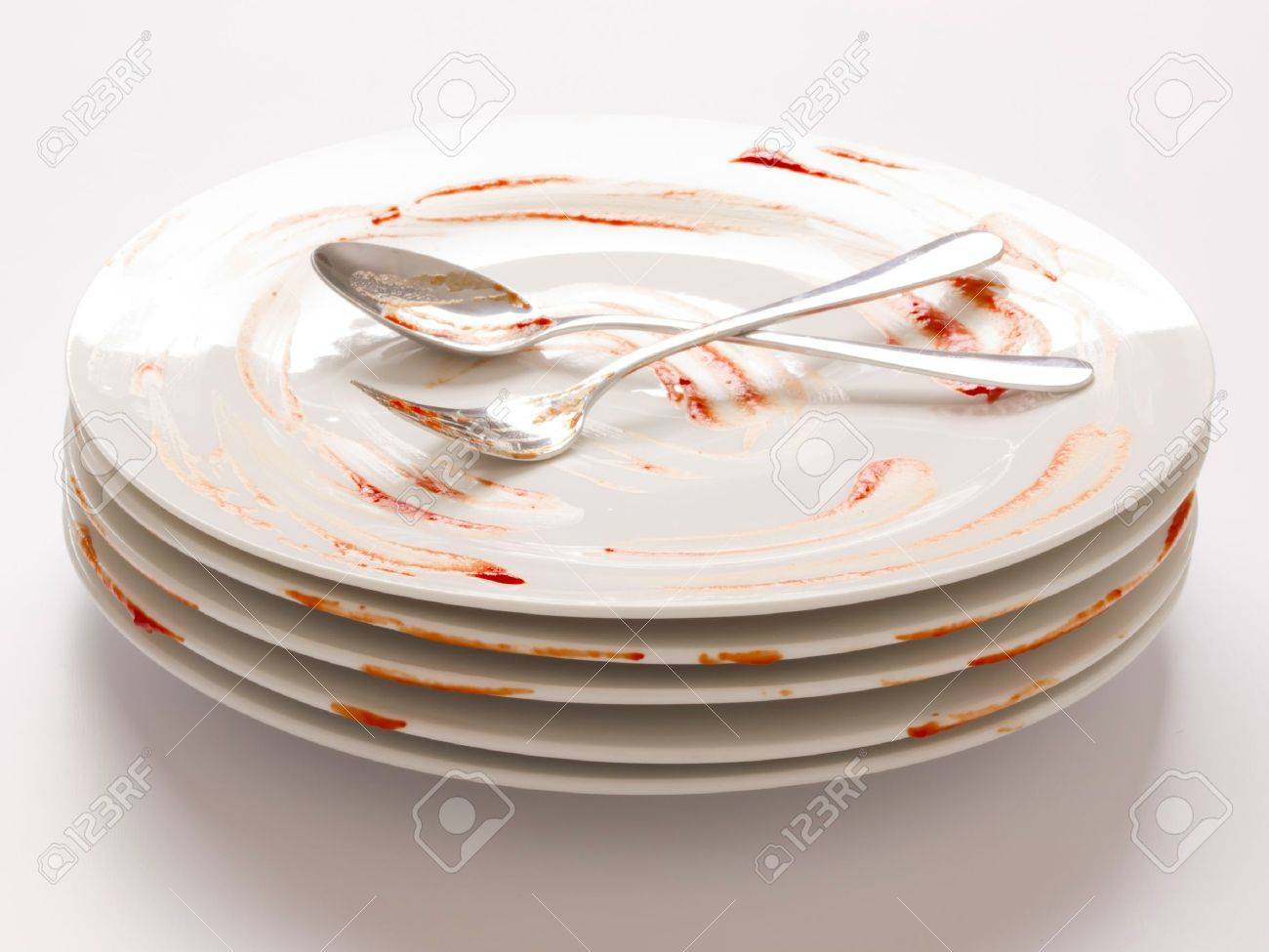 close up of a stack of dirty plates Stock Photo - 9869816
