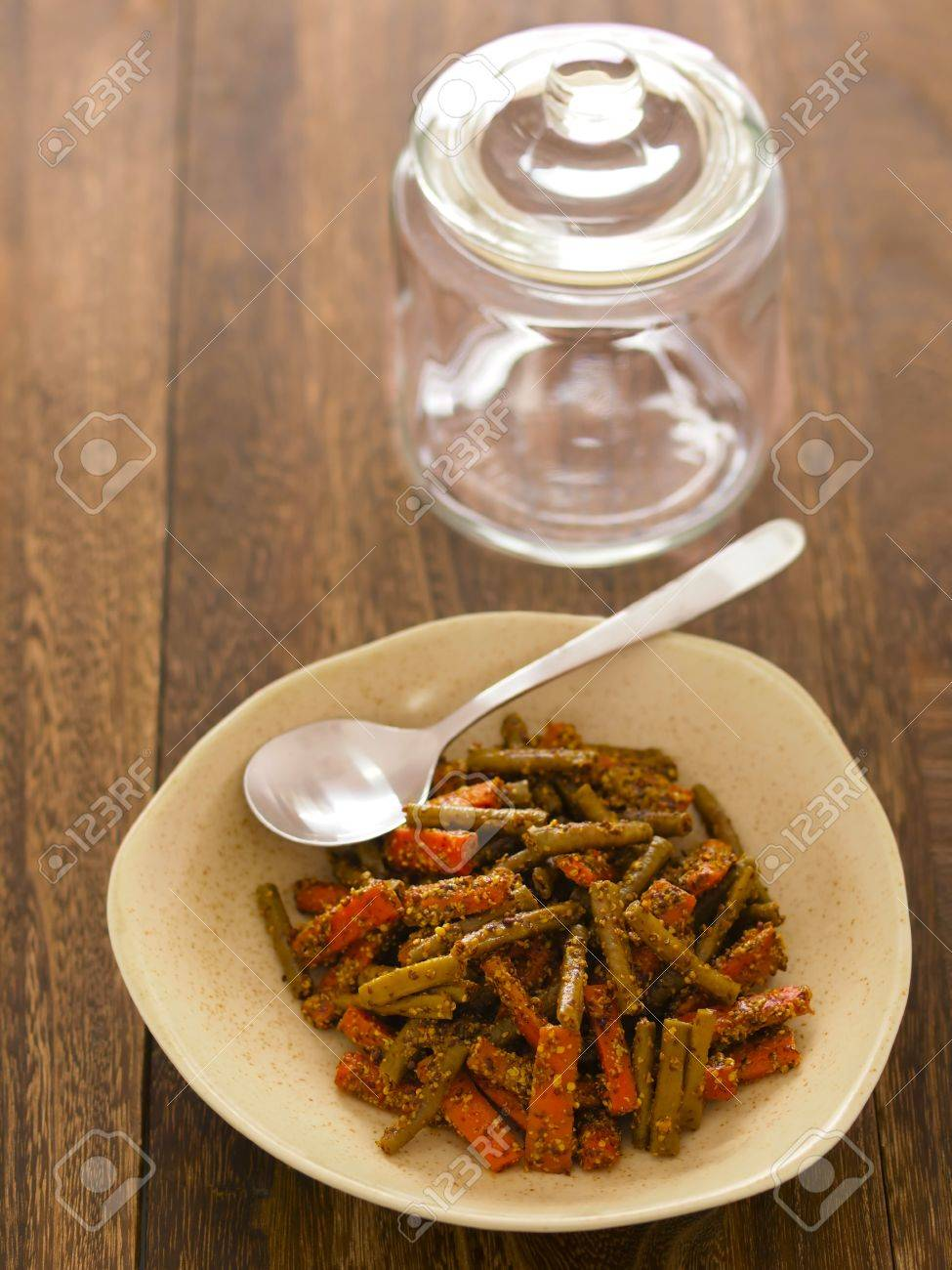 close up of a bowl of indian carrot and bean pickle Stock Photo - 14157309