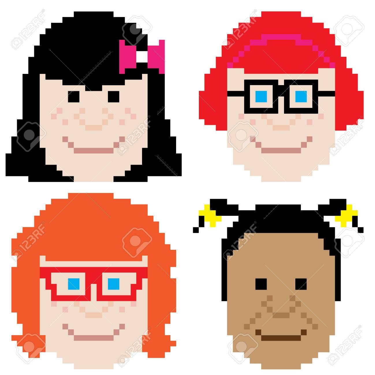 Girl Face Retro Computer Eight Bit Pixel Art