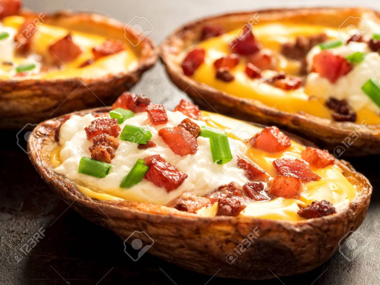 close up of rustic baked potato skin - 39309043