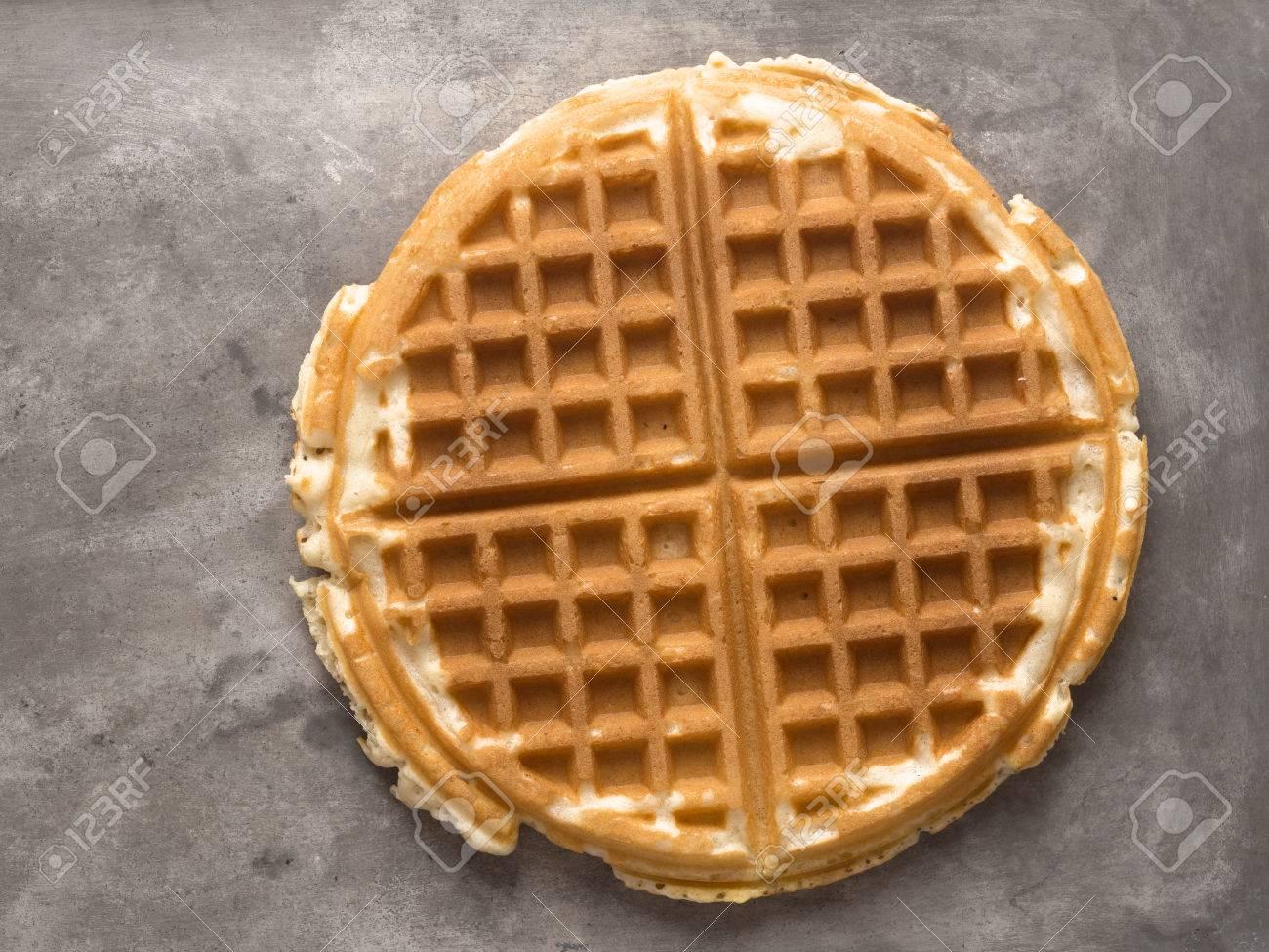 close up of rustic plain waffle - 52192138