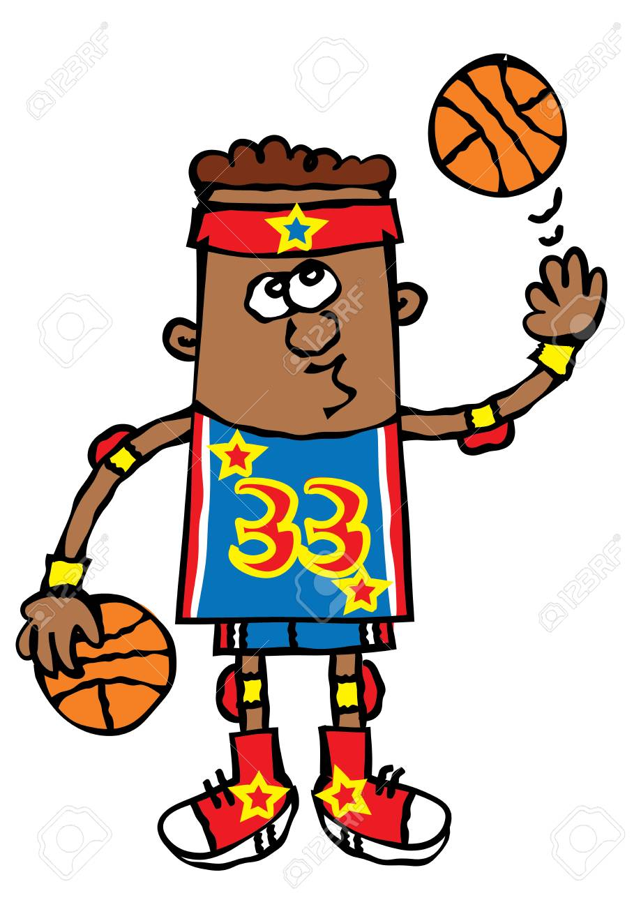 Funny Young Boy Basketball Player Cartoon Vector Illustration Royalty Free Cliparts Vectors And Stock Illustration Image 85425902