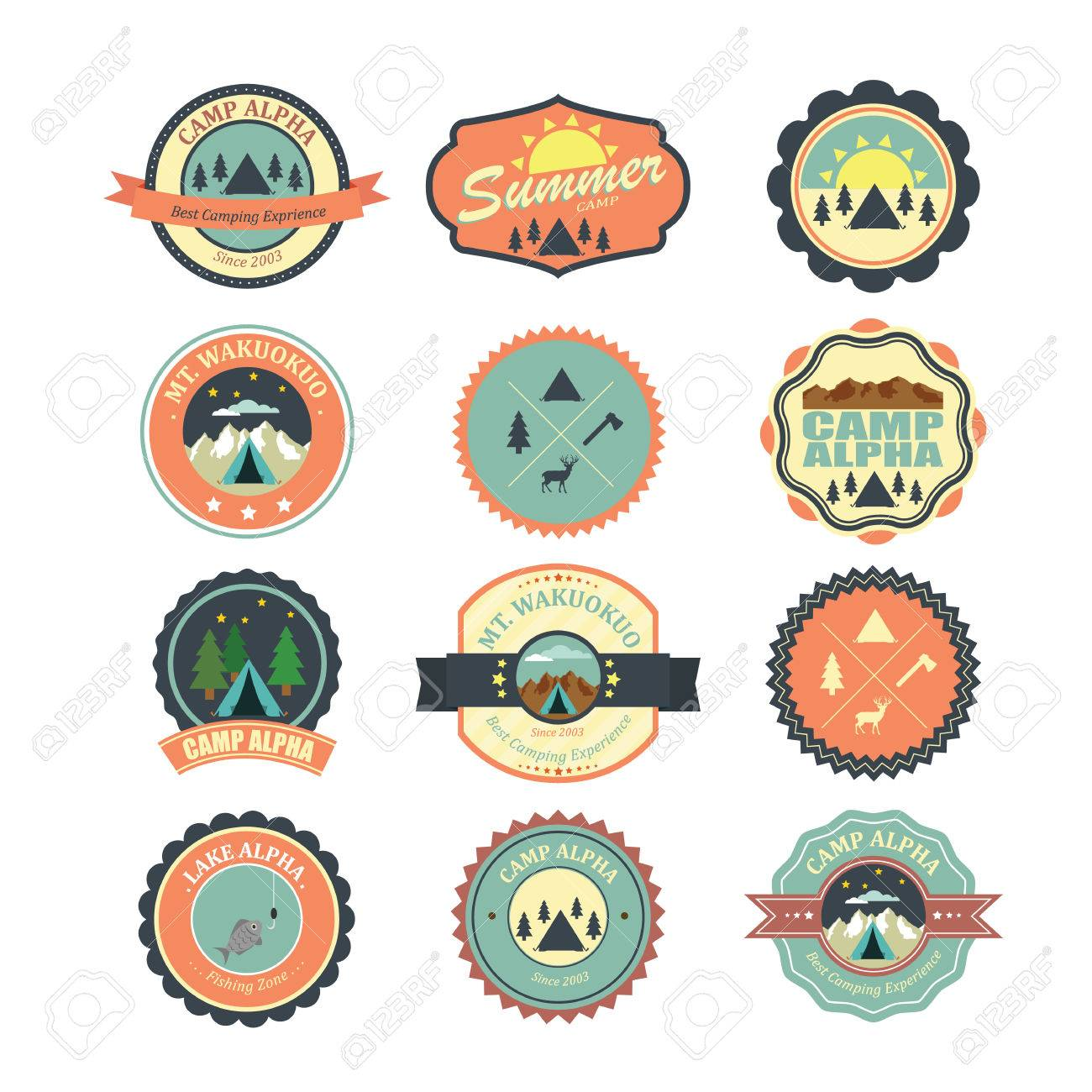 Set of vintage outdoor camp badges and emblems. - 33068519