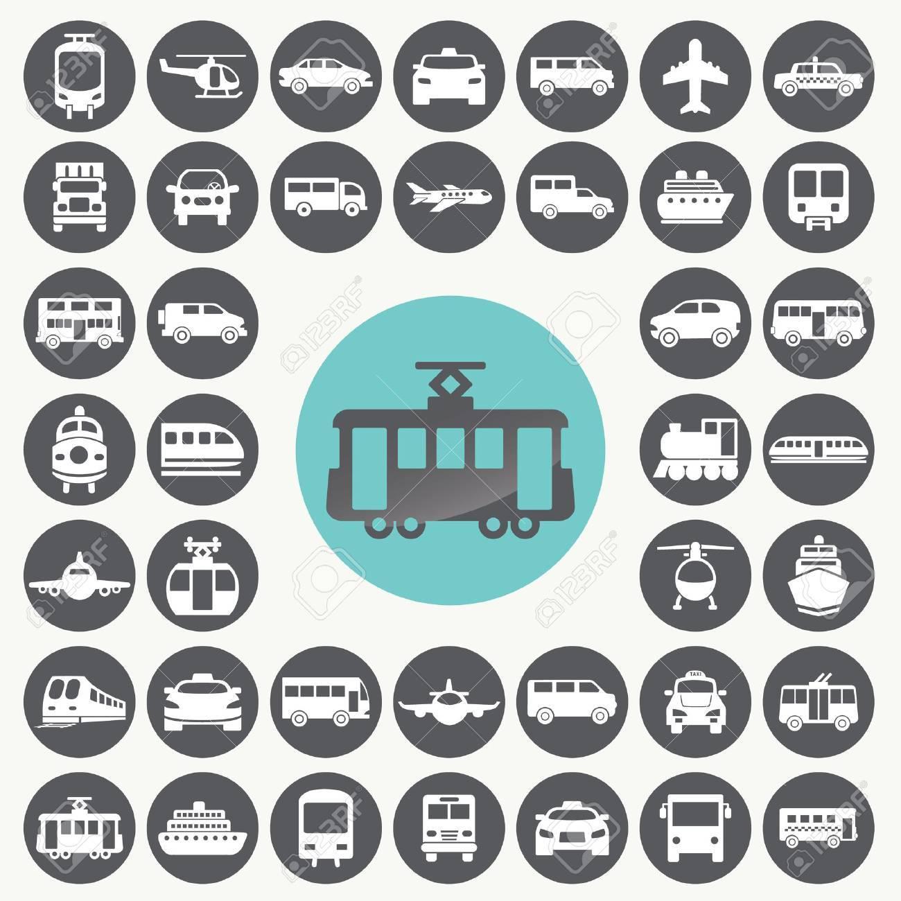 Public transportation icons set. - 33069411