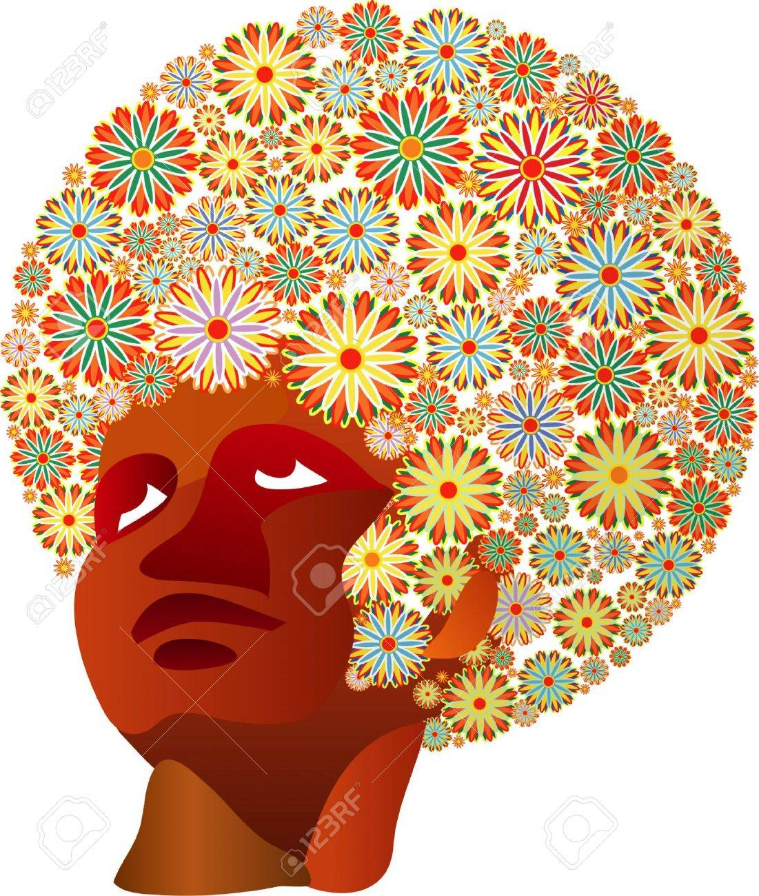 Afro Hair Vector Vector - vector woman with