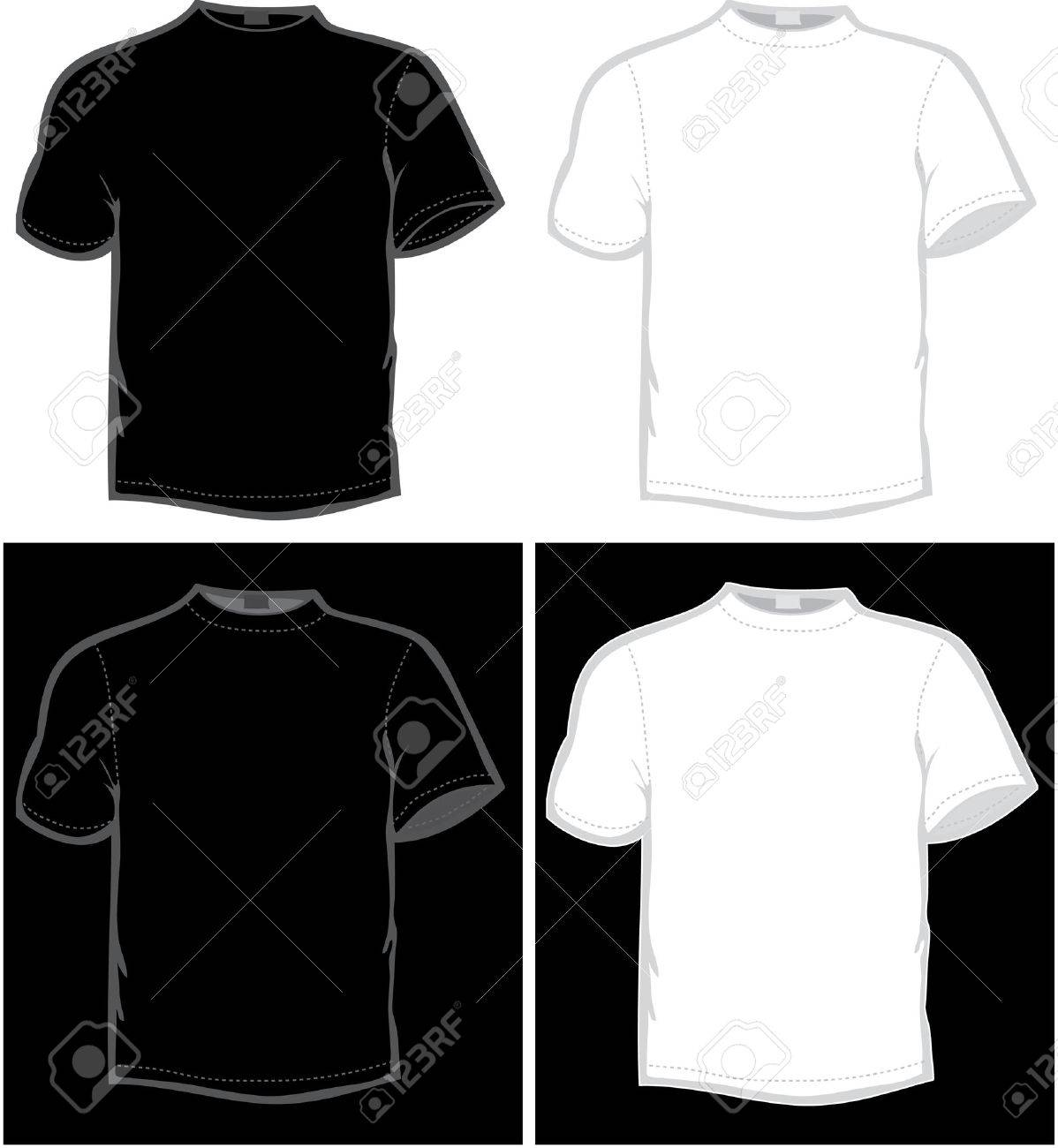Black t shirt vector photoshop - Vector Vector T Shirt In Black And White Color