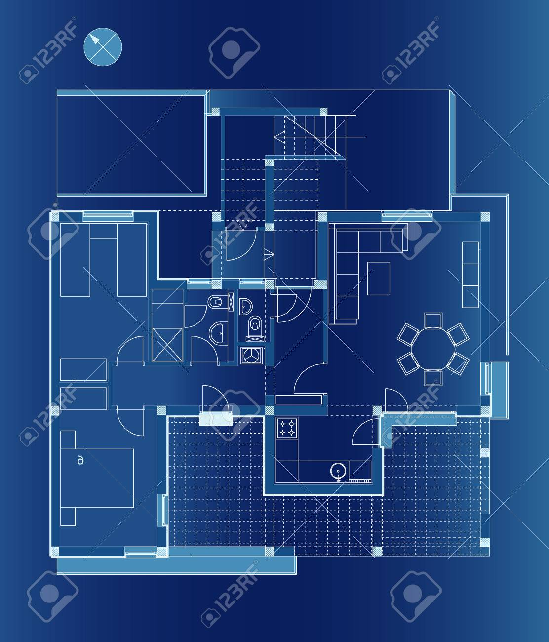 vector architectural plane of the small apartment Stock Vector - 3820540