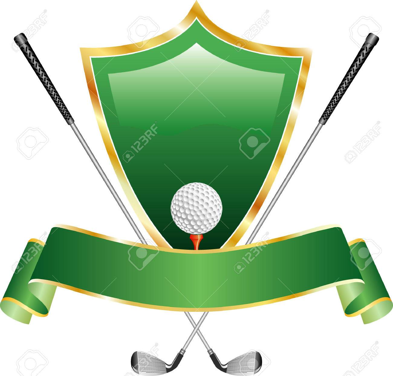 vector gold golf award with shield Stock Vector - 4358477