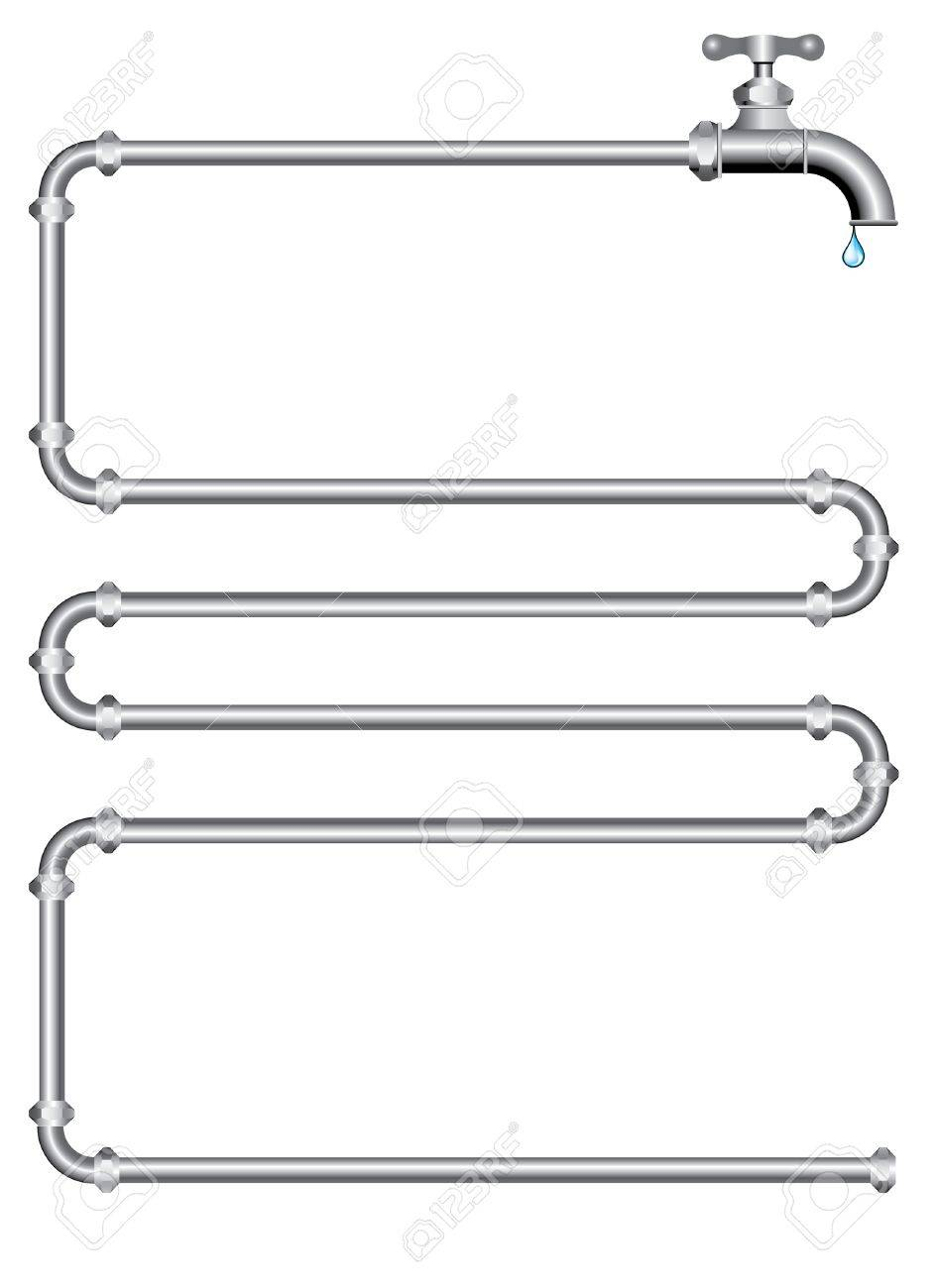 vector illustration with pipes and faucet Stock Vector - 5031452