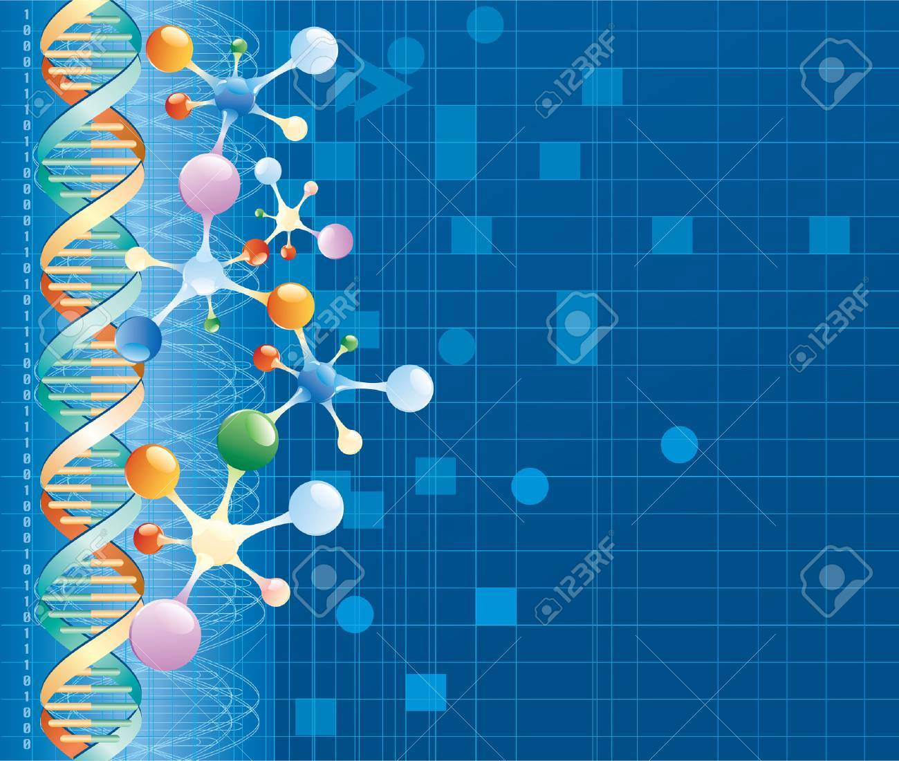 vector abstract background with DNA curve and color molecules Stock Vector - 5131014