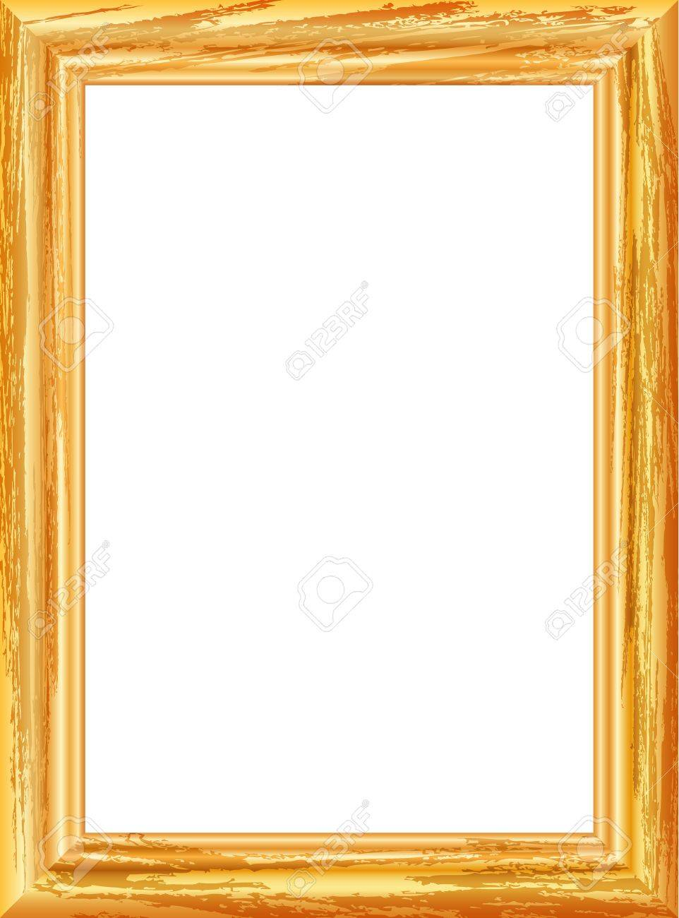 vector vector realistic drawing of old gilt wooden frame