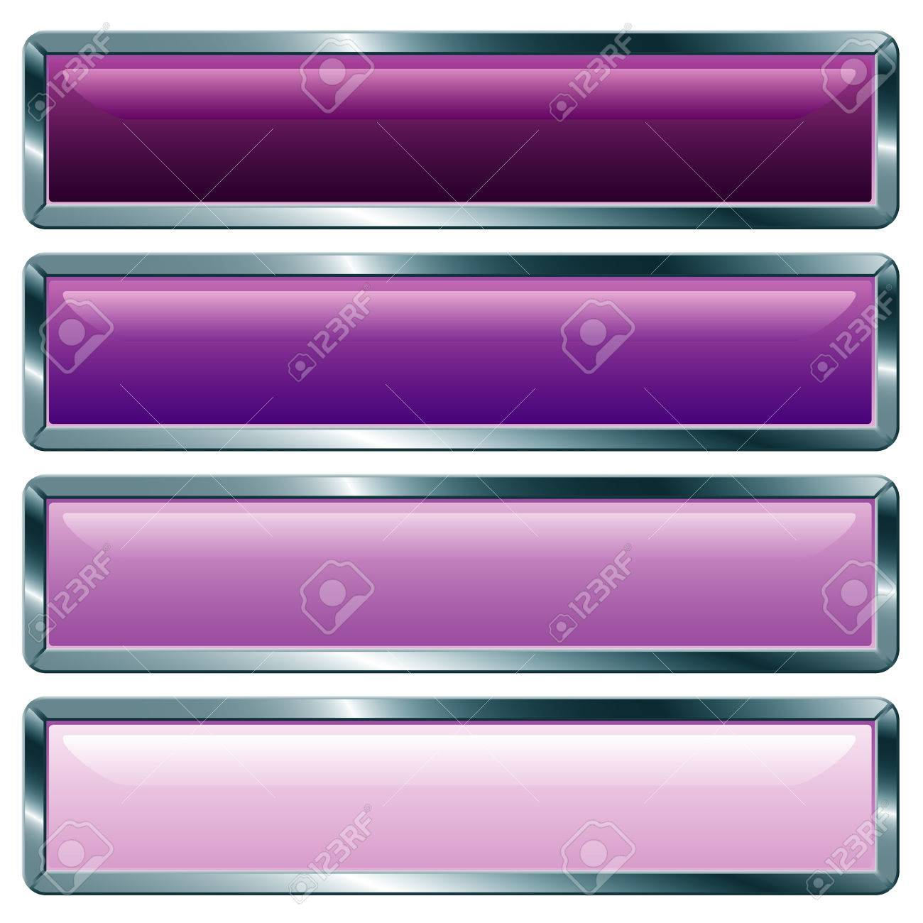 vector buttons with metallic frame, purple collection Stock Vector - 5428577