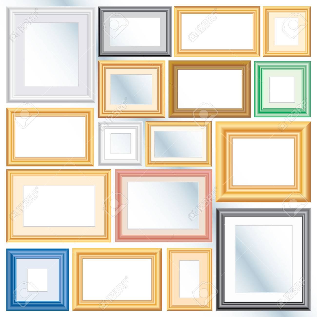 Set Of Vector Different Frames, Background Is In Separate Layer ...