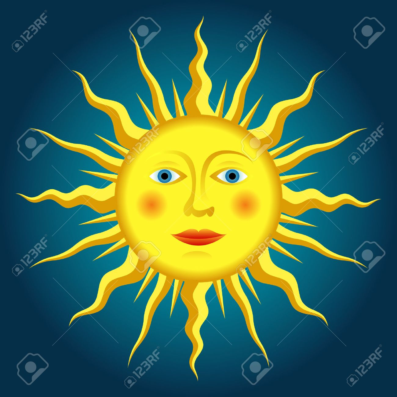 vector drawing of the renaissance sun Stock Vector - 6131179