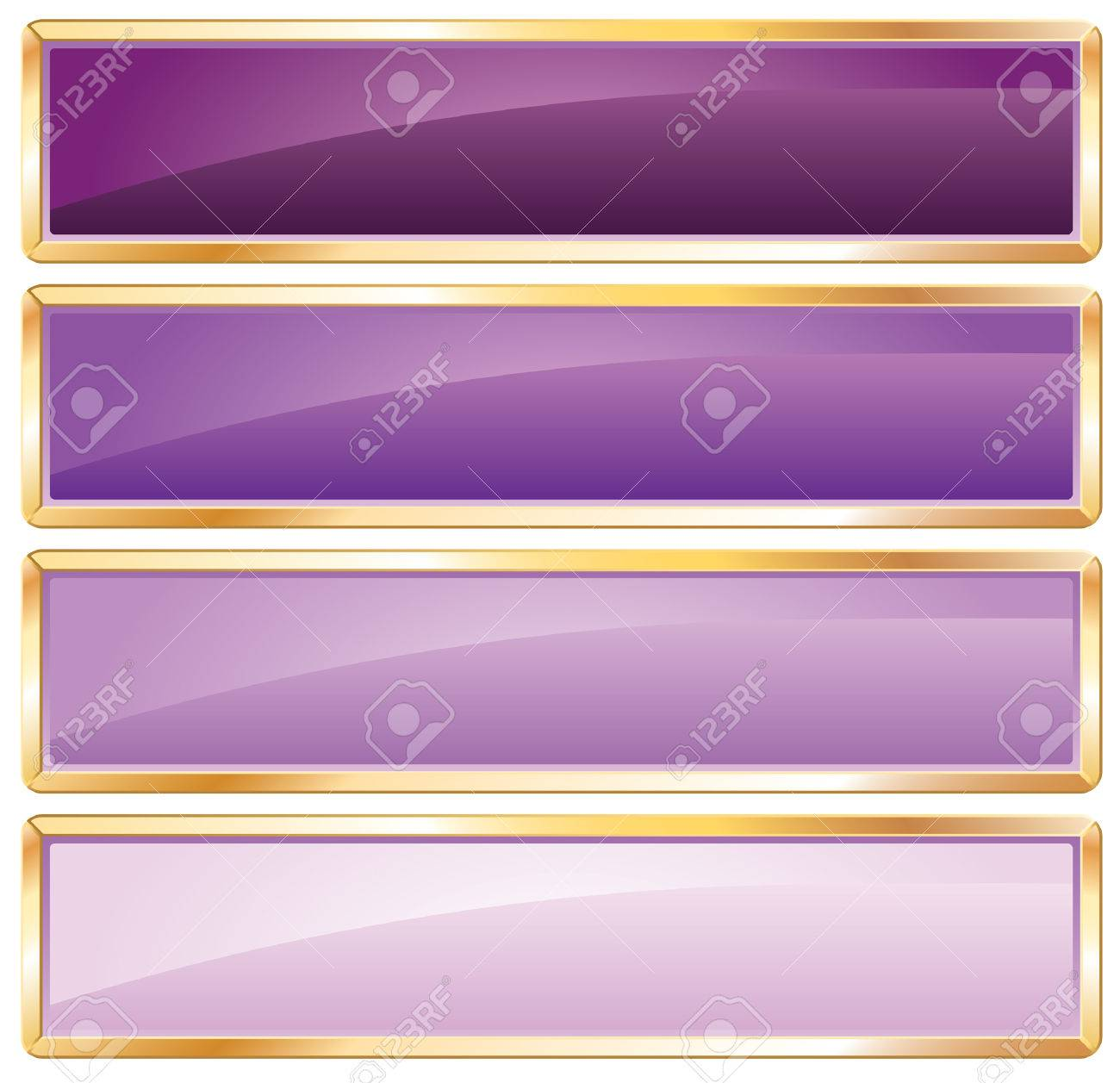 violet long buttons with golden frame Stock Vector - 7004949