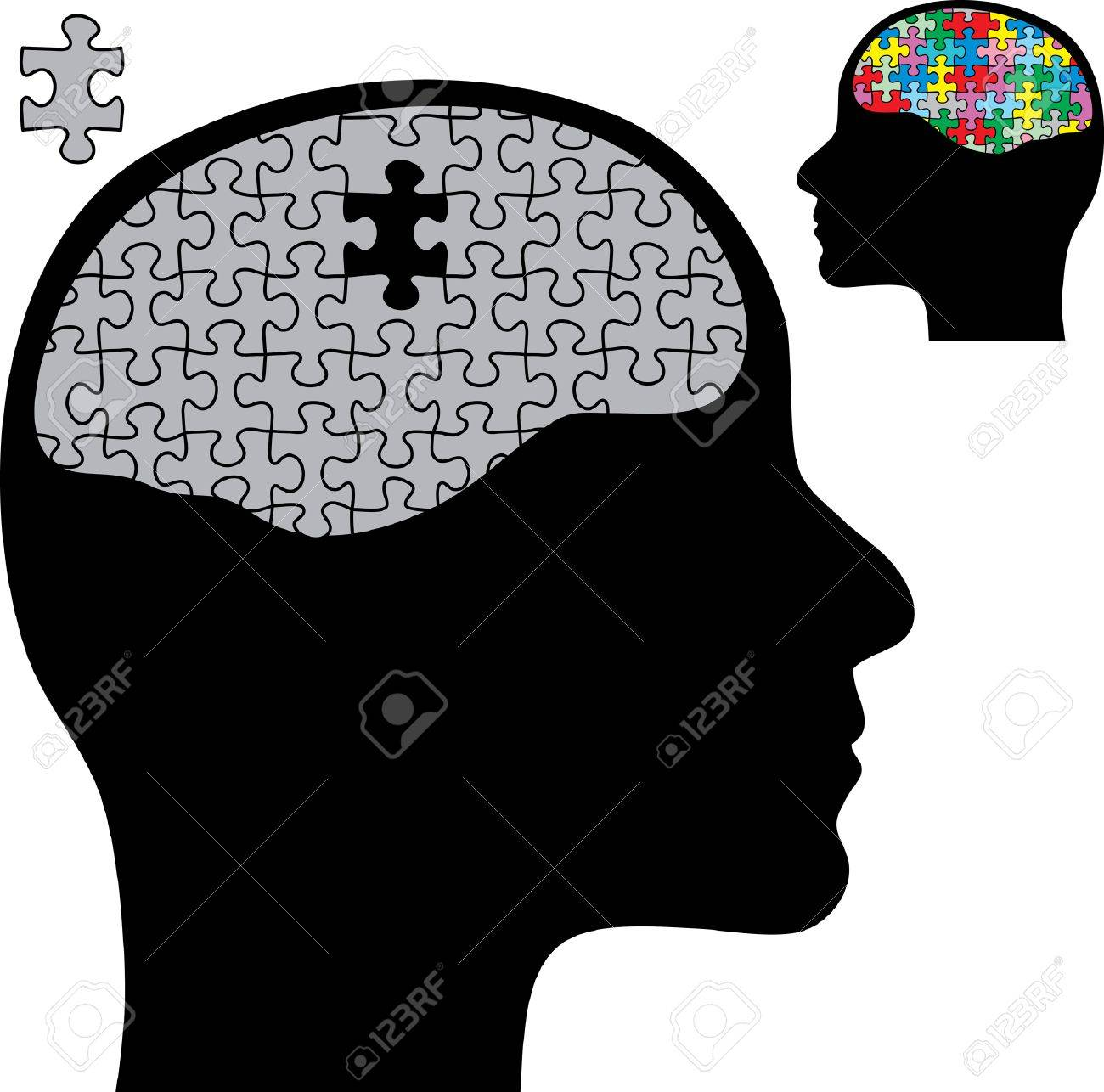 abstract illustration with brain and puzzle Stock Vector - 7107750