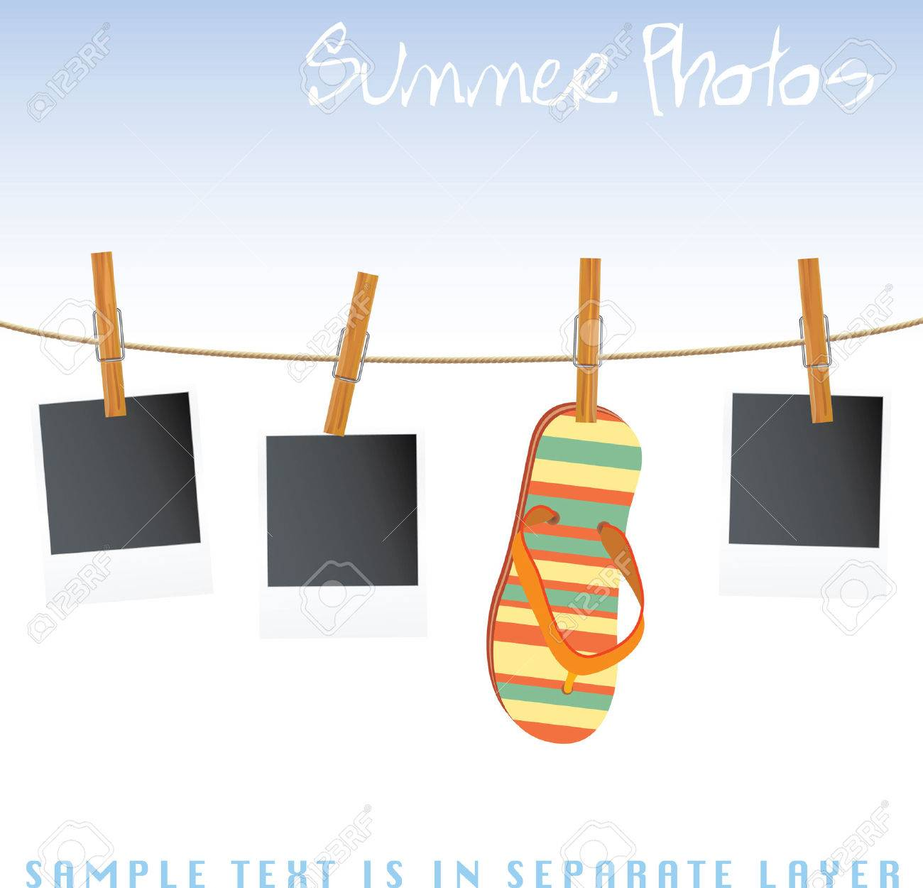 photos and sandal on rope Stock Vector - 7286921