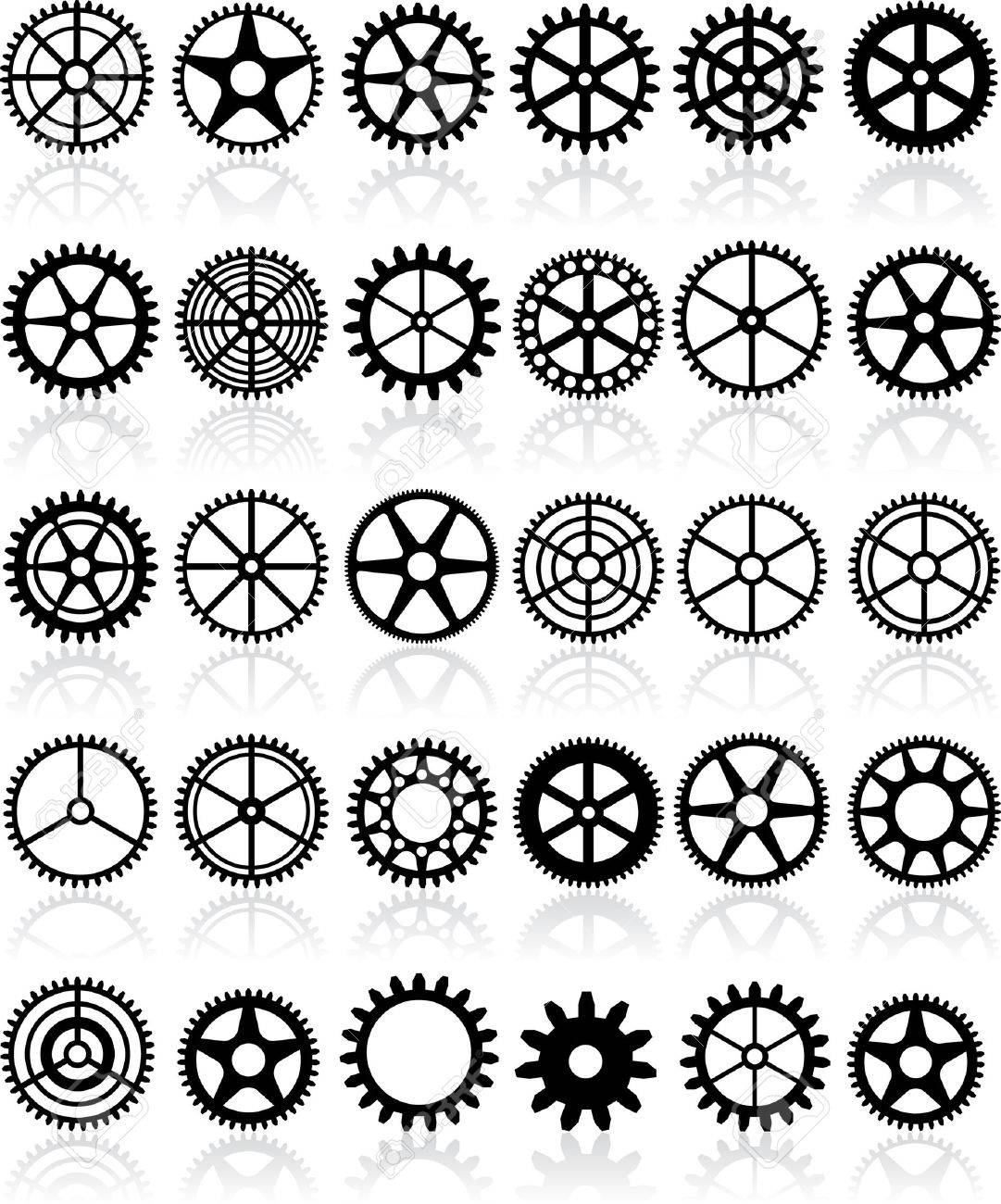 set of thirty different gears Stock Vector - 7323617