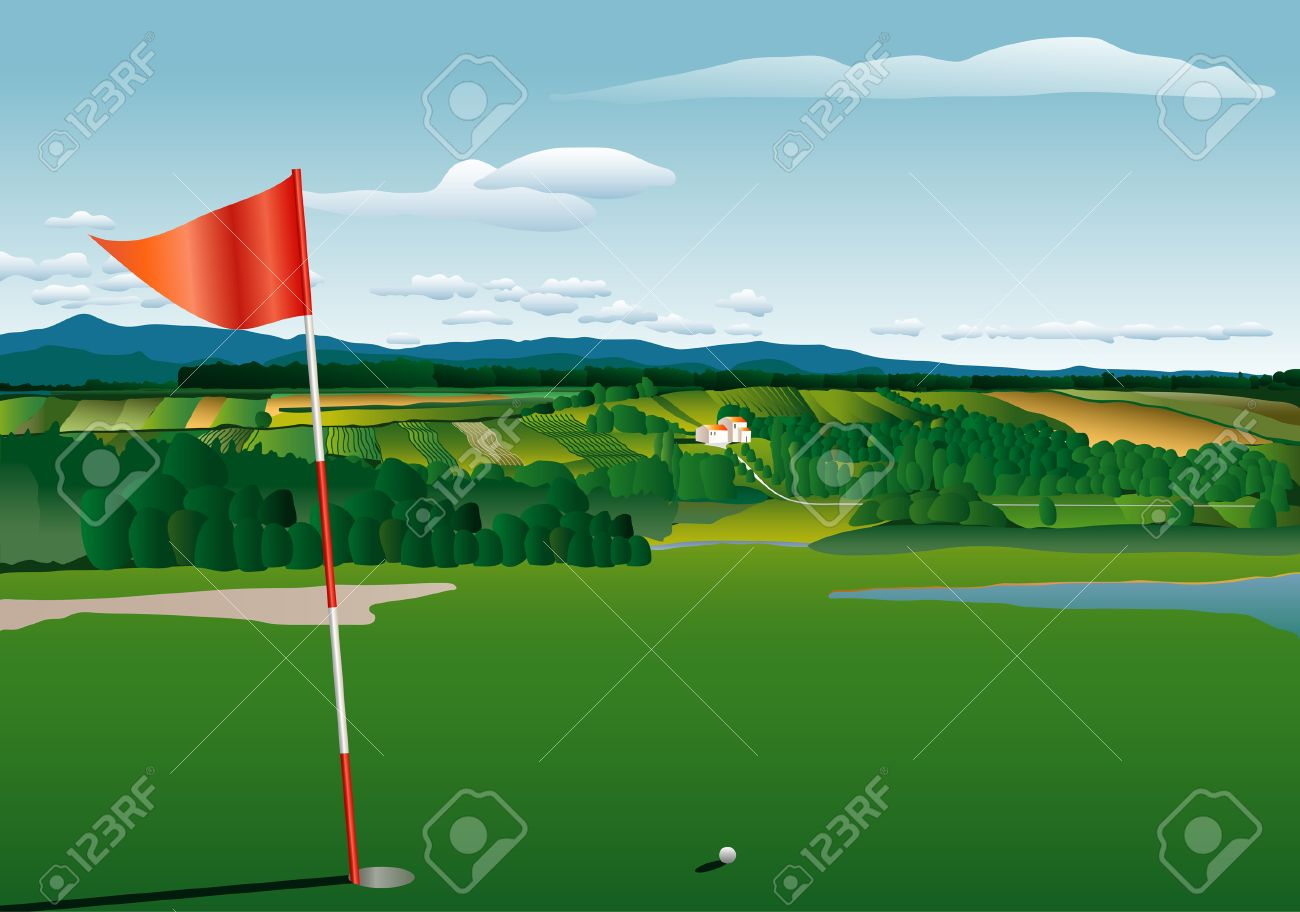 vector golf terrain with agricultural landscape Stock Vector - 7634791