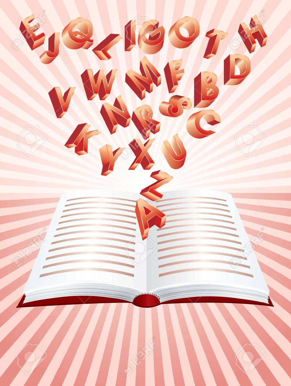 flying alphabet from magic book Stock Vector - 7715441
