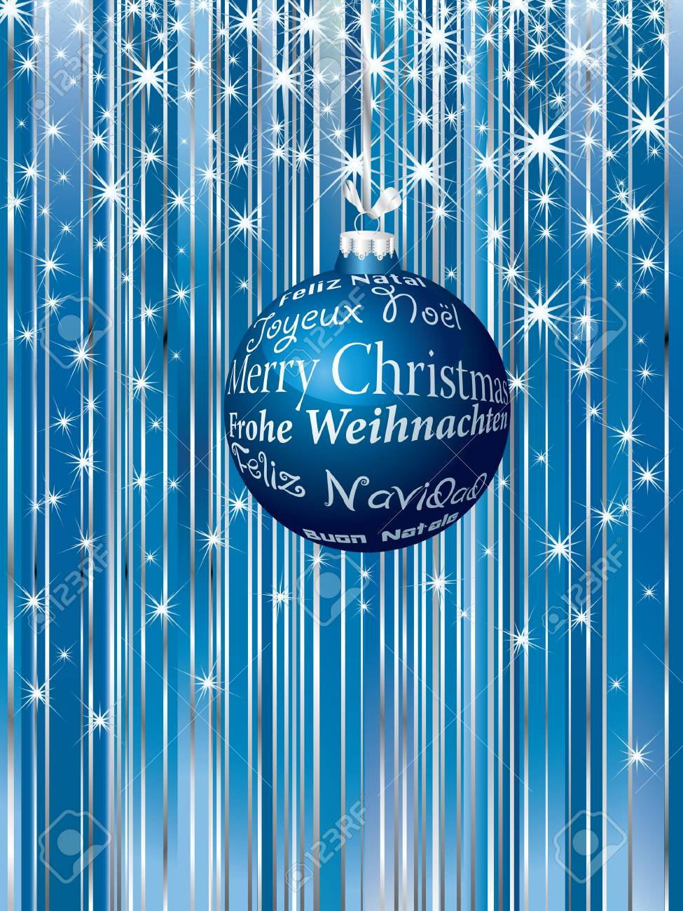 Christmas background with greeting in six languages Stock Vector - 8046294